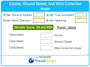 Course, Ground Speed, And Wind Correction Angle