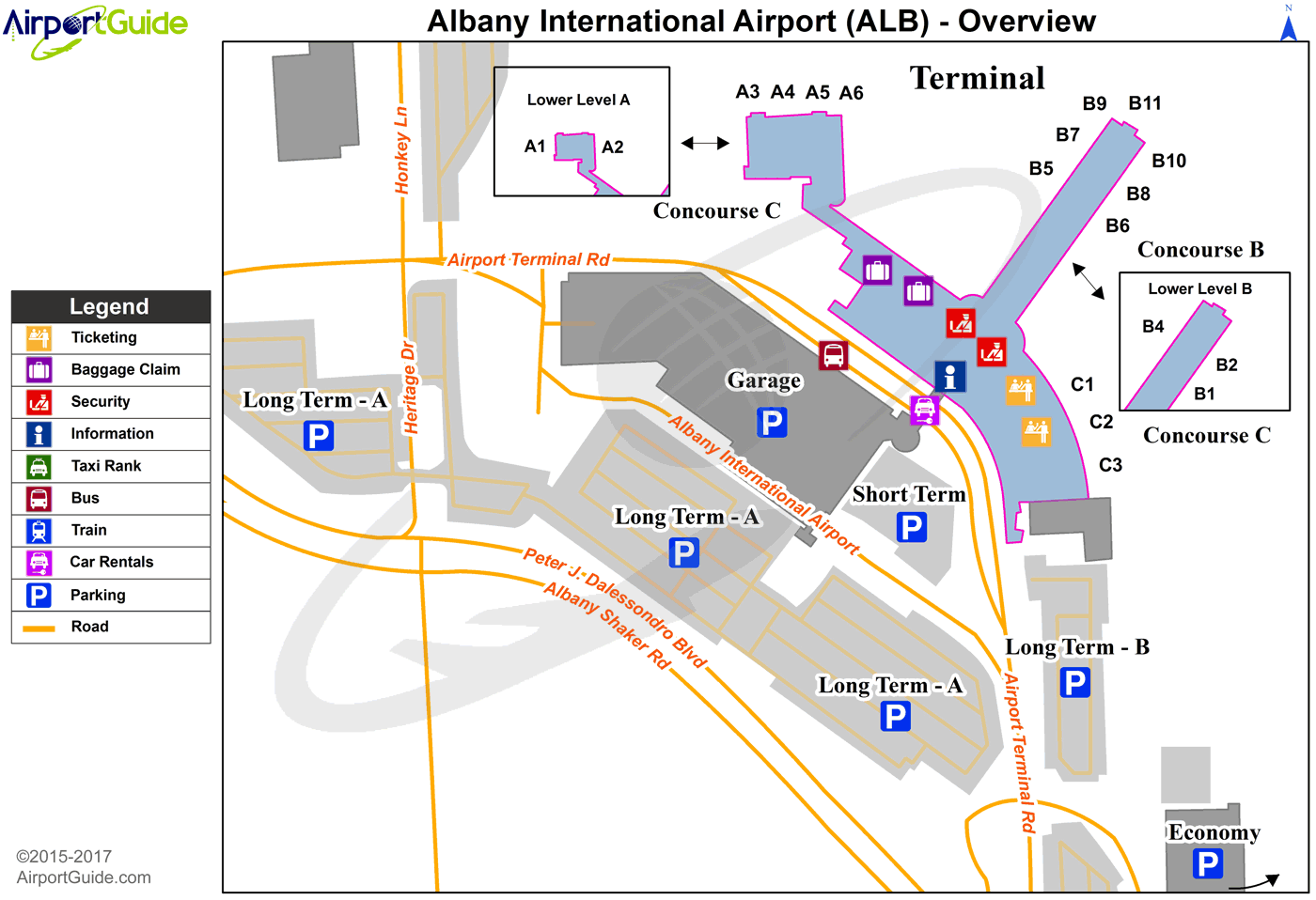 Albany Airport Terminal Map Albany   Albany International (ALB) Airport Terminal Maps