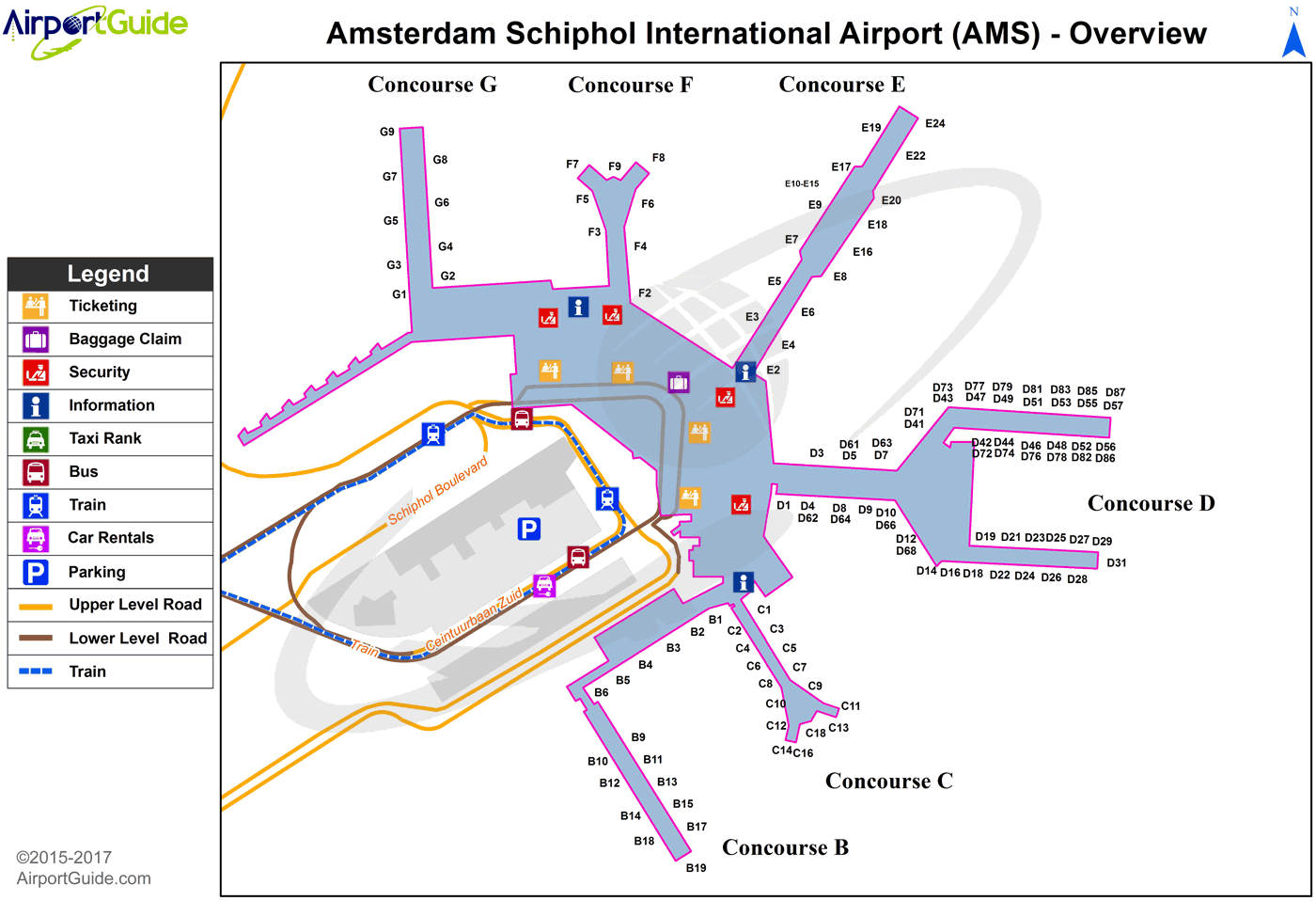 Schiphol Airport Map Amsterdam   Amsterdam Schiphol (AMS) Airport Terminal Maps  Schiphol Airport Map