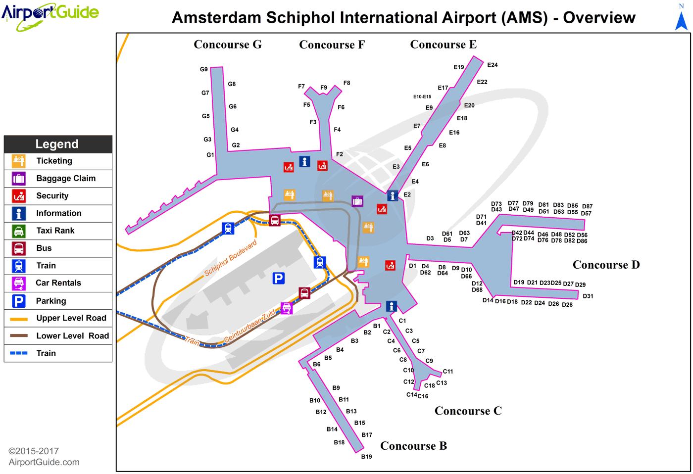 Amsterdam   Amsterdam Schiphol (AMS) Airport Terminal Maps