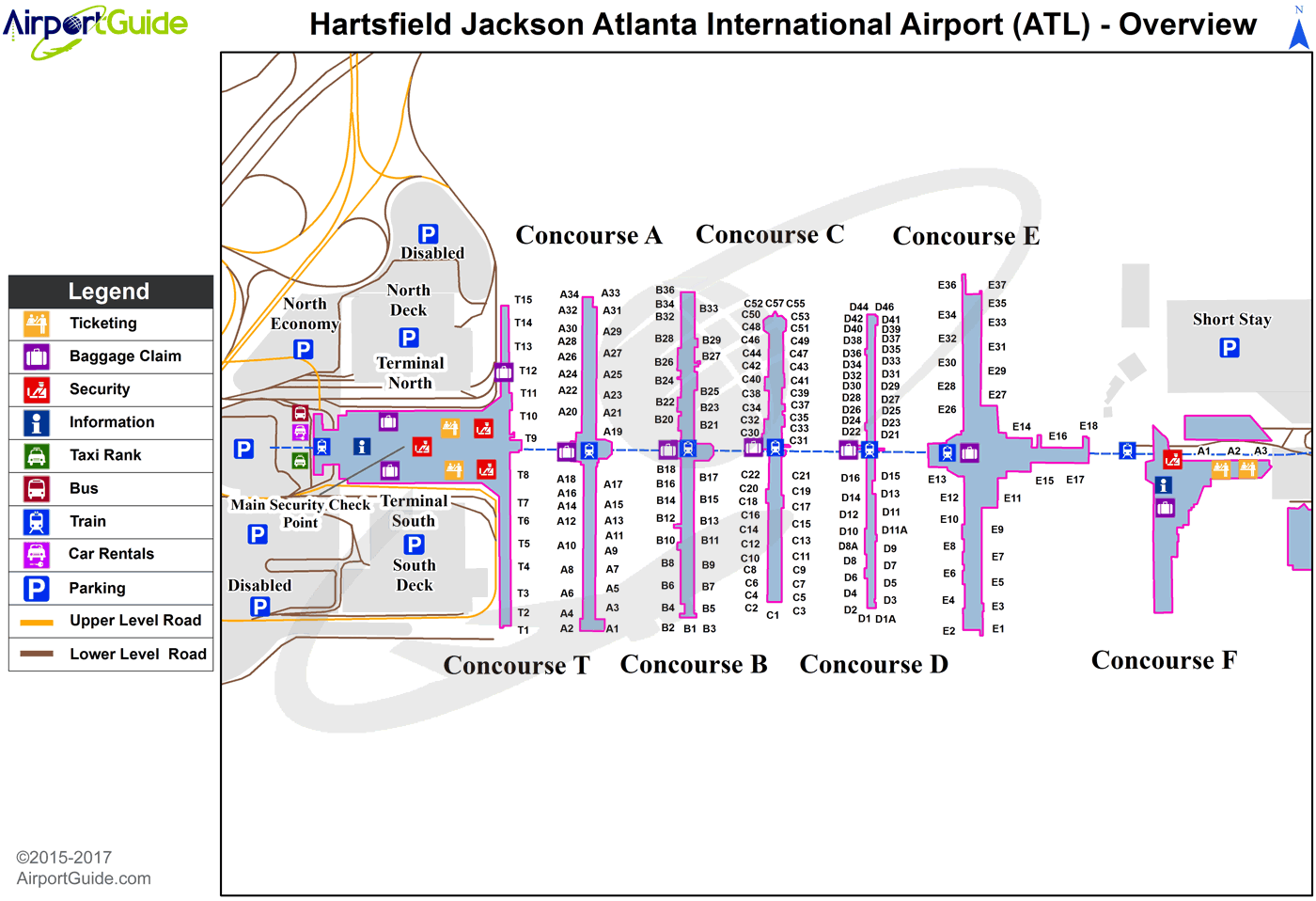 Atlanta Airport Domestic Terminal Map Atlanta   Hartsfield   Jackson Atlanta International (ATL) Airport