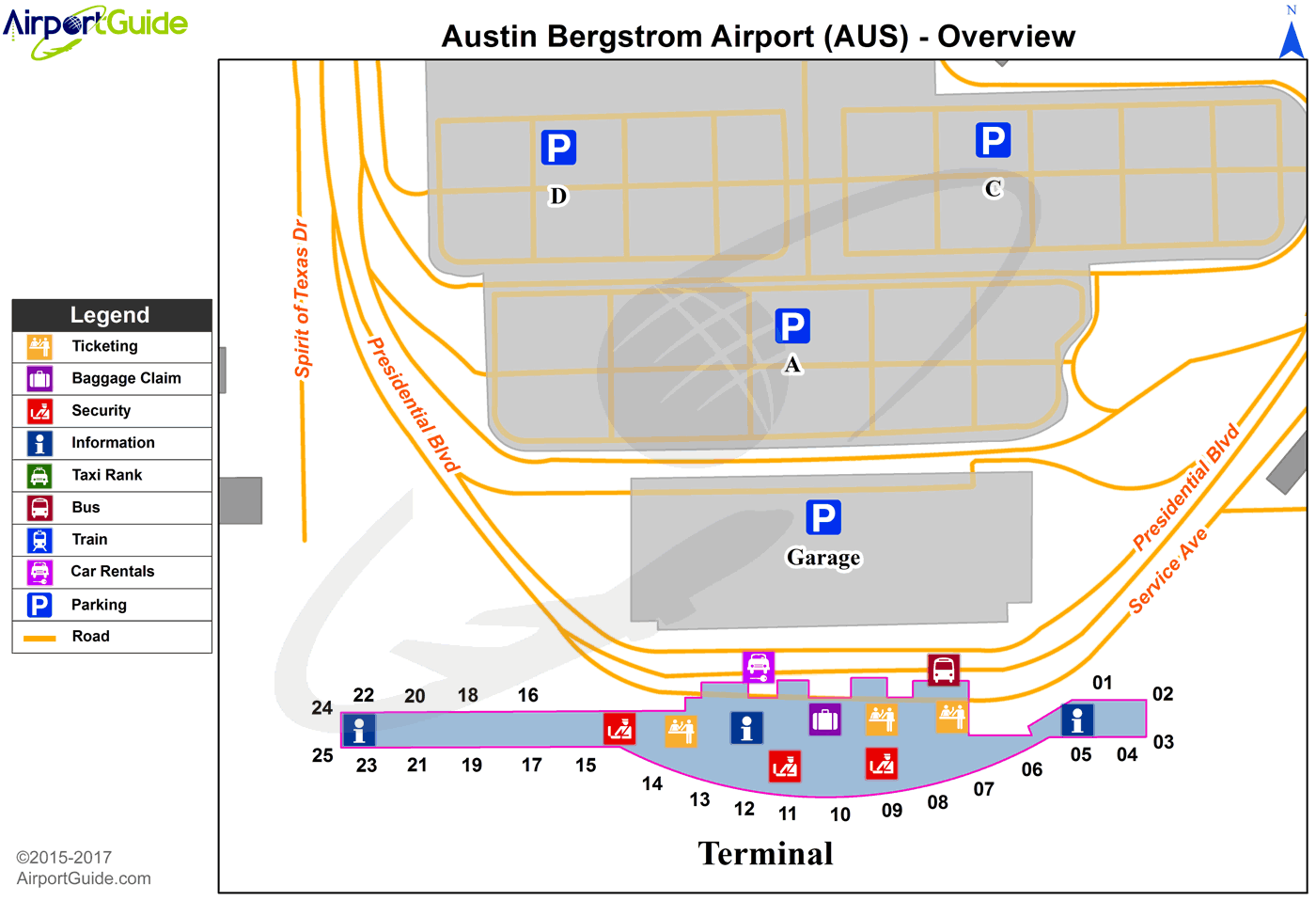 Austin Bergstrom International Airport Map Austin   Austin Bergstrom International (AUS) Airport Terminal