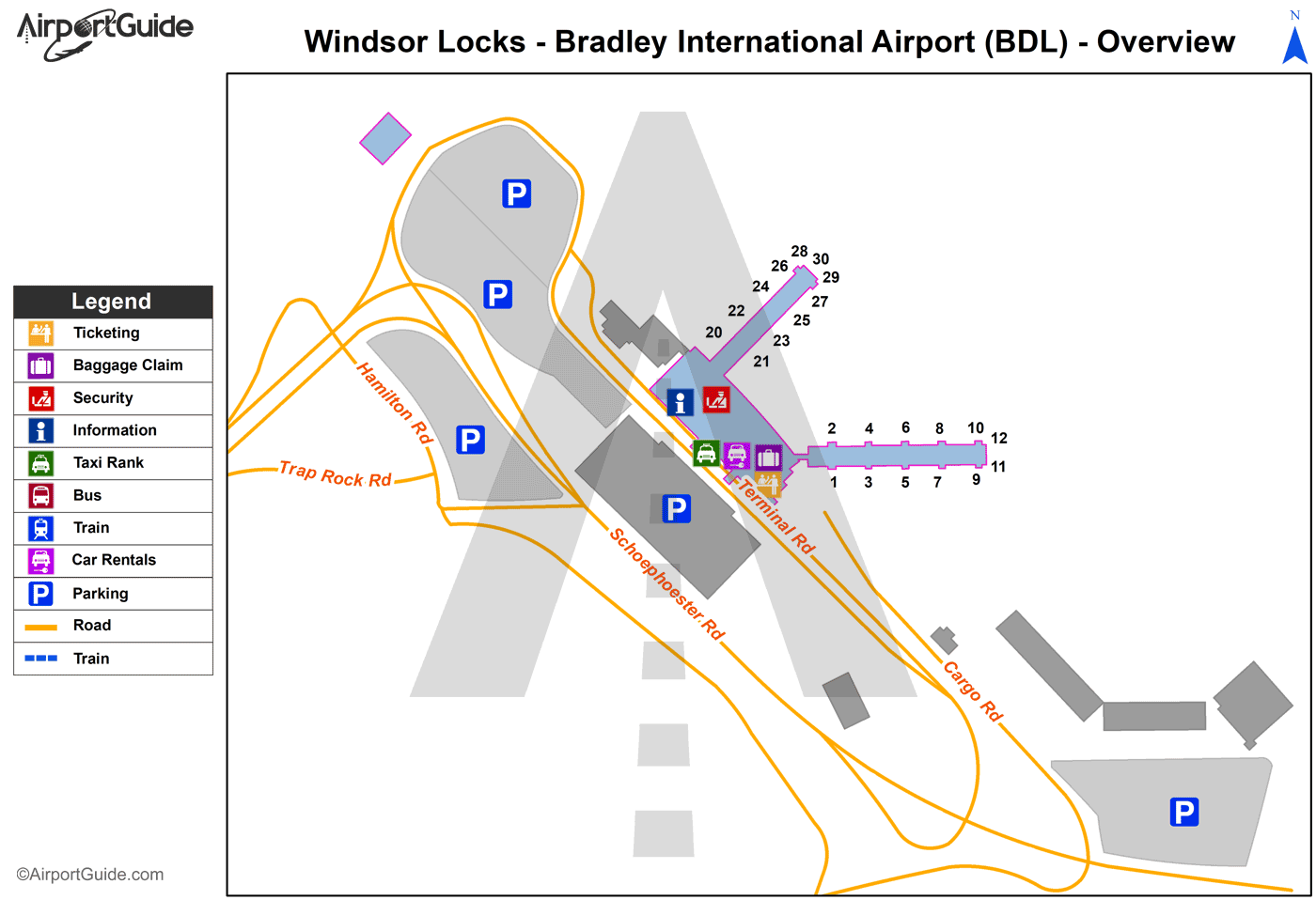 Windsor Locks Bradley International BDL Airport Terminal Maps