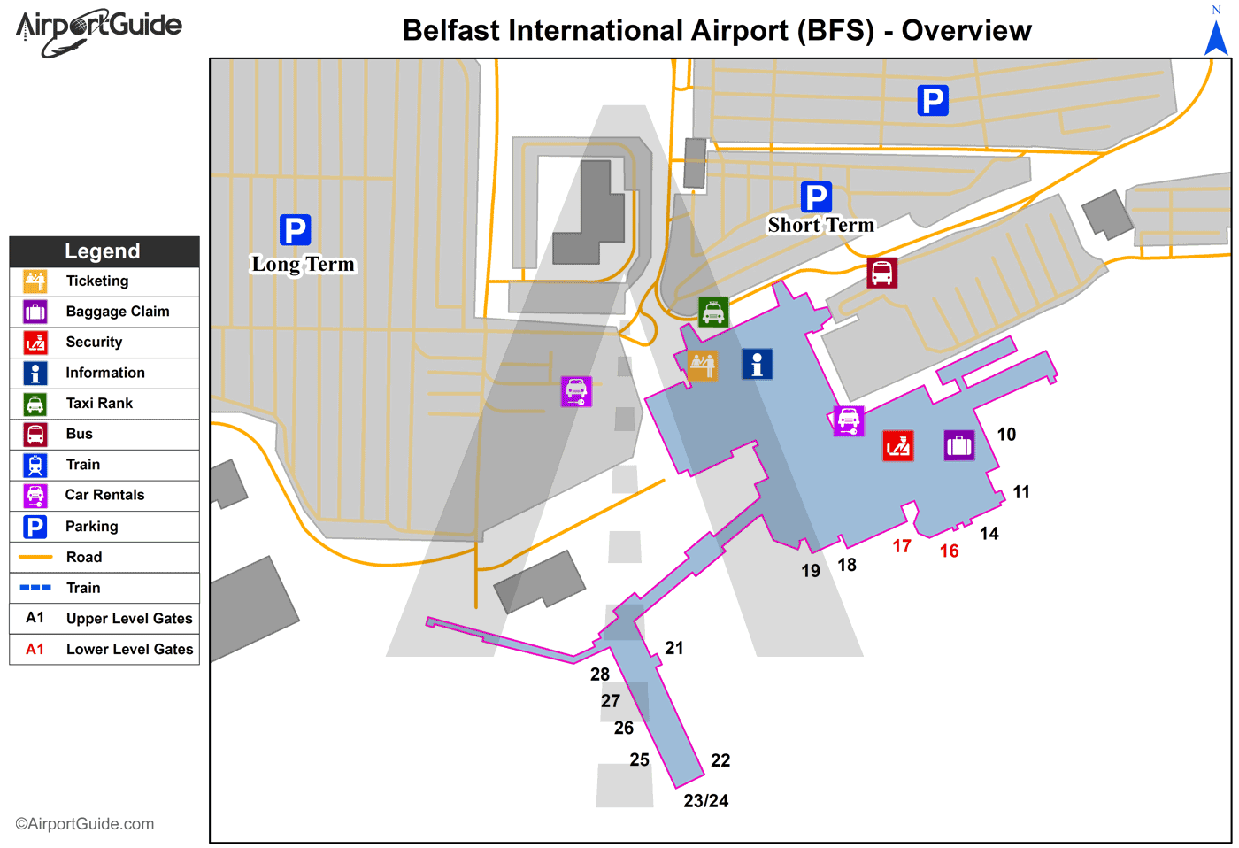 Belfast Belfast International BFS Airport Terminal Maps