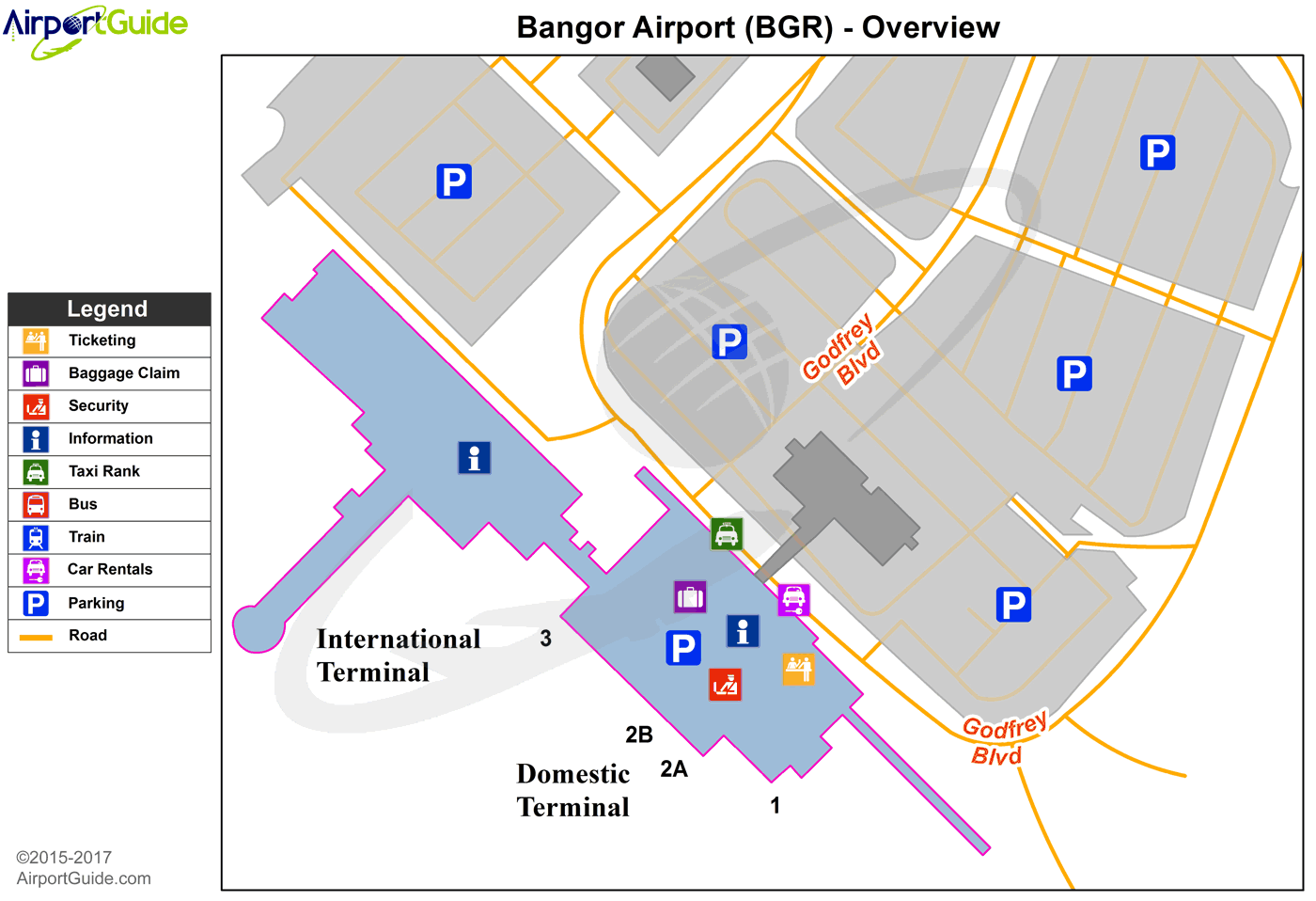 Bangor  Bangor International BGR Airport Terminal Maps