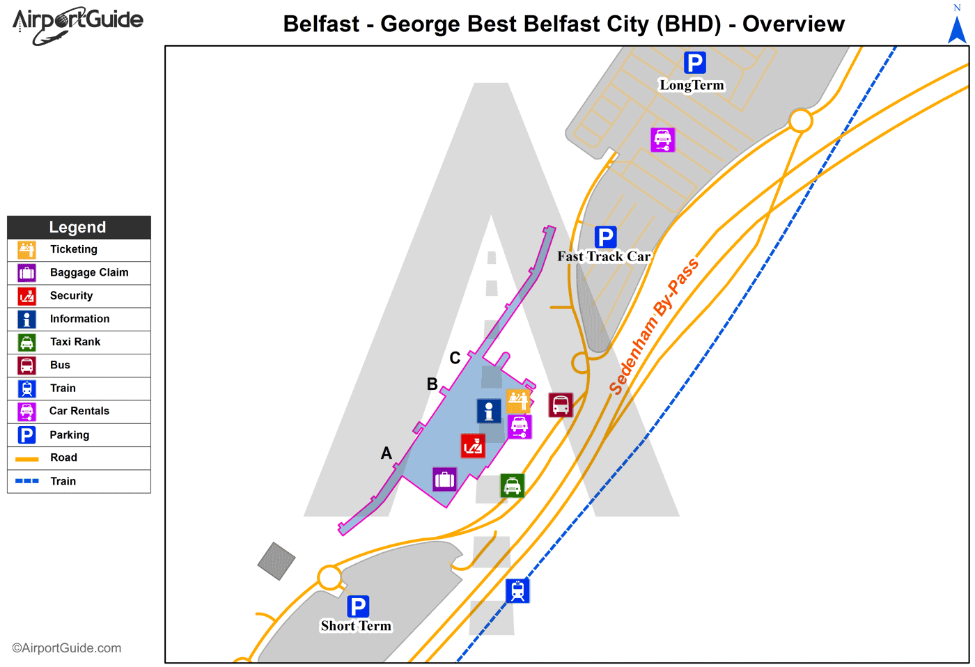 Belfast George Best Belfast City BHD Airport Terminal Maps