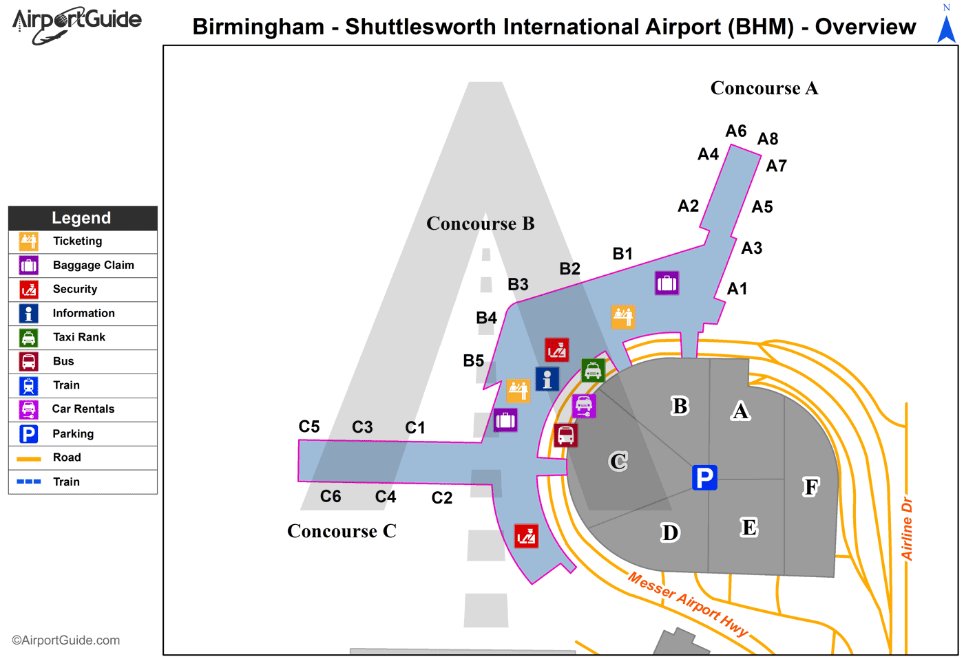 birmingham al airport map Birmingham Birmingham Shuttlesworth International Bhm Airport birmingham al airport map