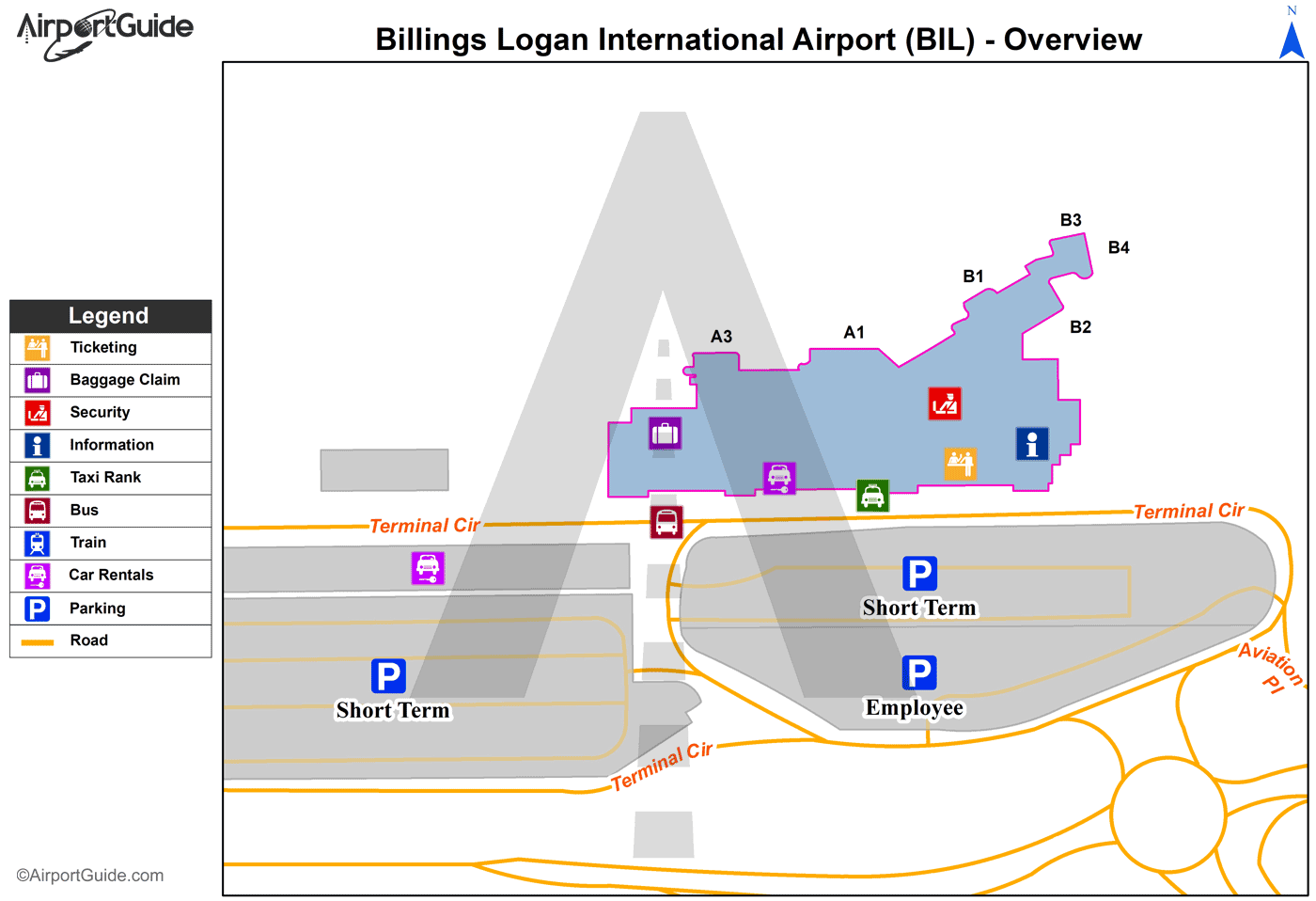 Billings Billings Logan International BIL Airport Terminal Maps
