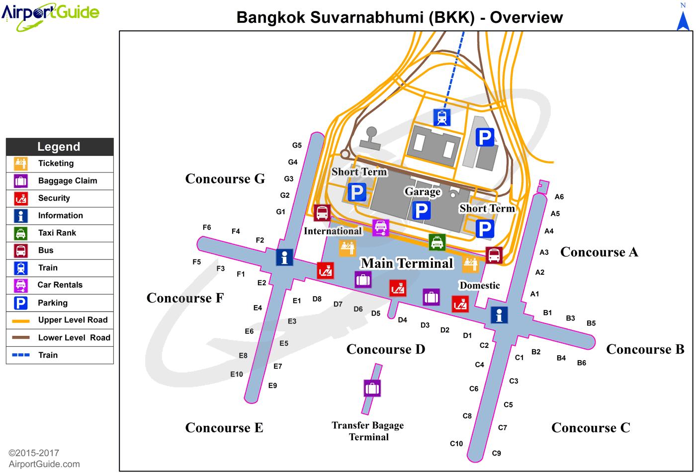 Bangkok Suvarnabhumi BKK Airport Terminal Maps TravelWidgetcom