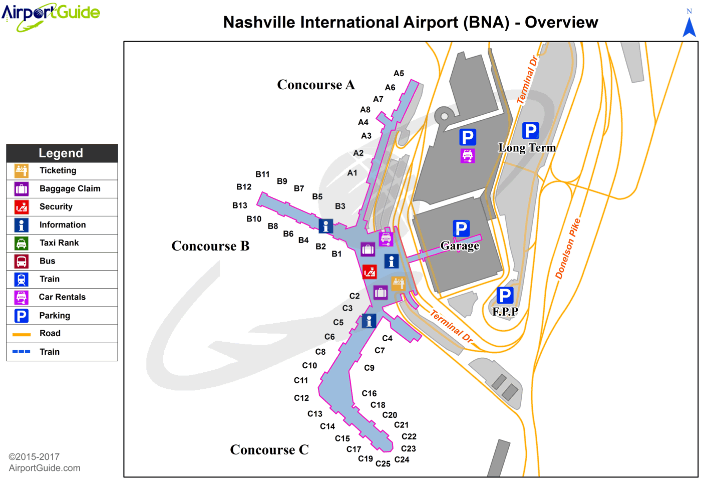 Map Of Nashville Airport Nashville   Nashville International (BNA) Airport Terminal Maps
