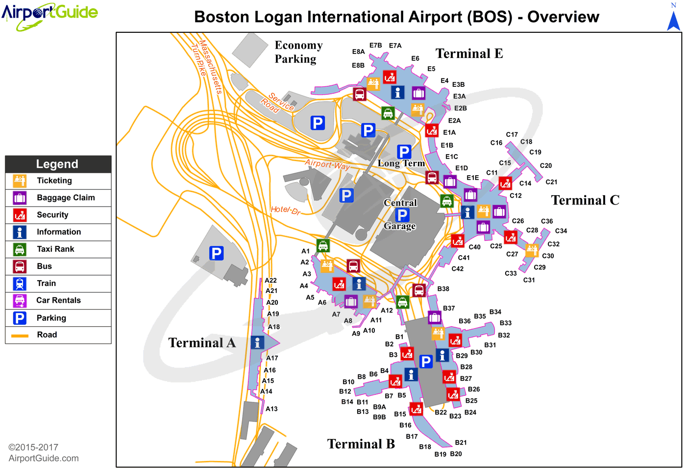 Logan International Airport Map Boston   General Edward Lawrence Logan International (BOS) Airport  Logan International Airport Map