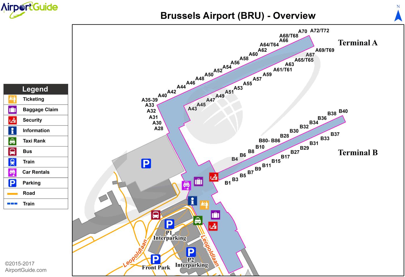 Brussels Brussels BRU Airport Terminal Maps TravelWidgetcom - Brussels airport map