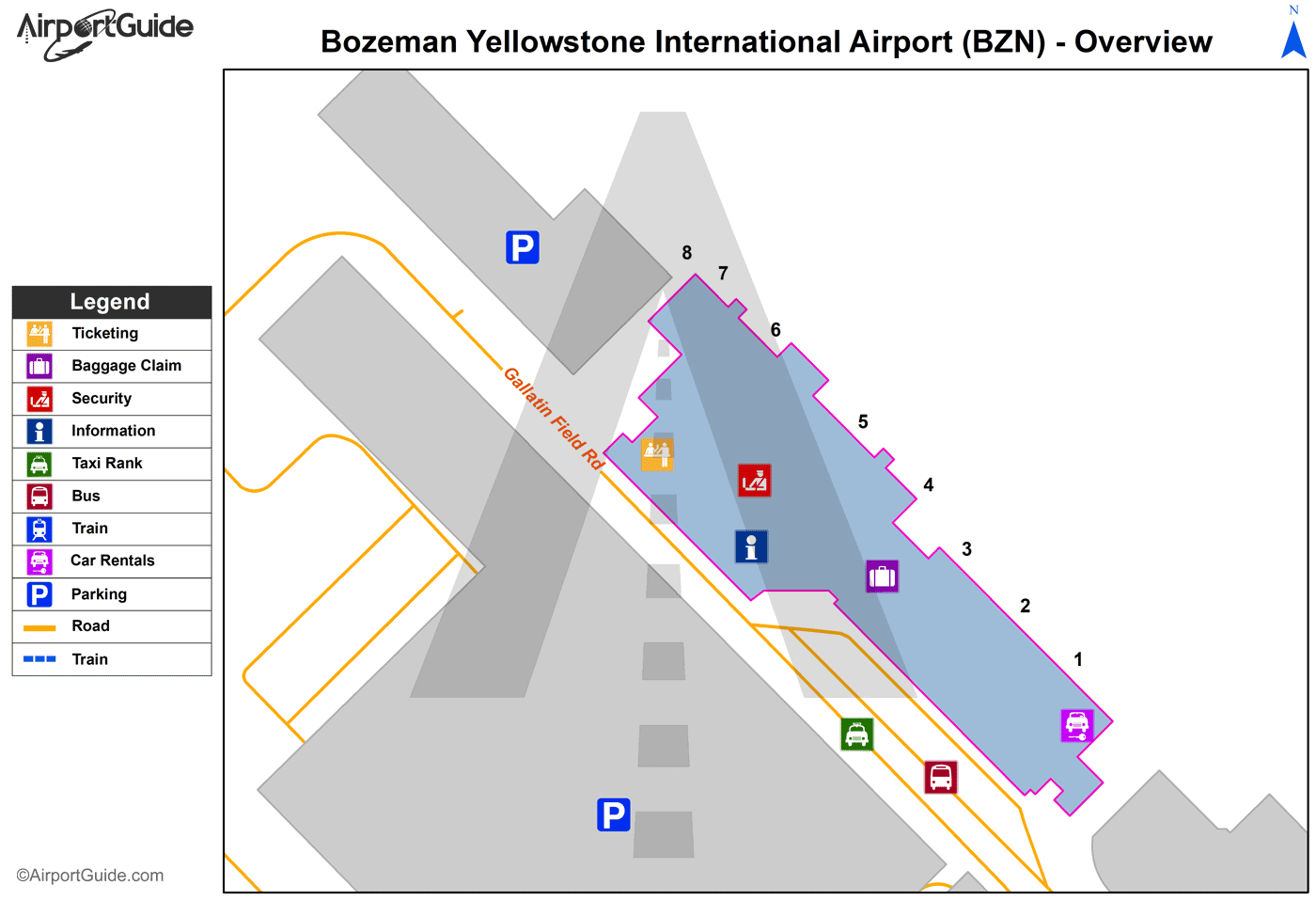 Bozeman Bozeman Yellowstone International Bzn Airport Terminal Maps Travelwidget Com