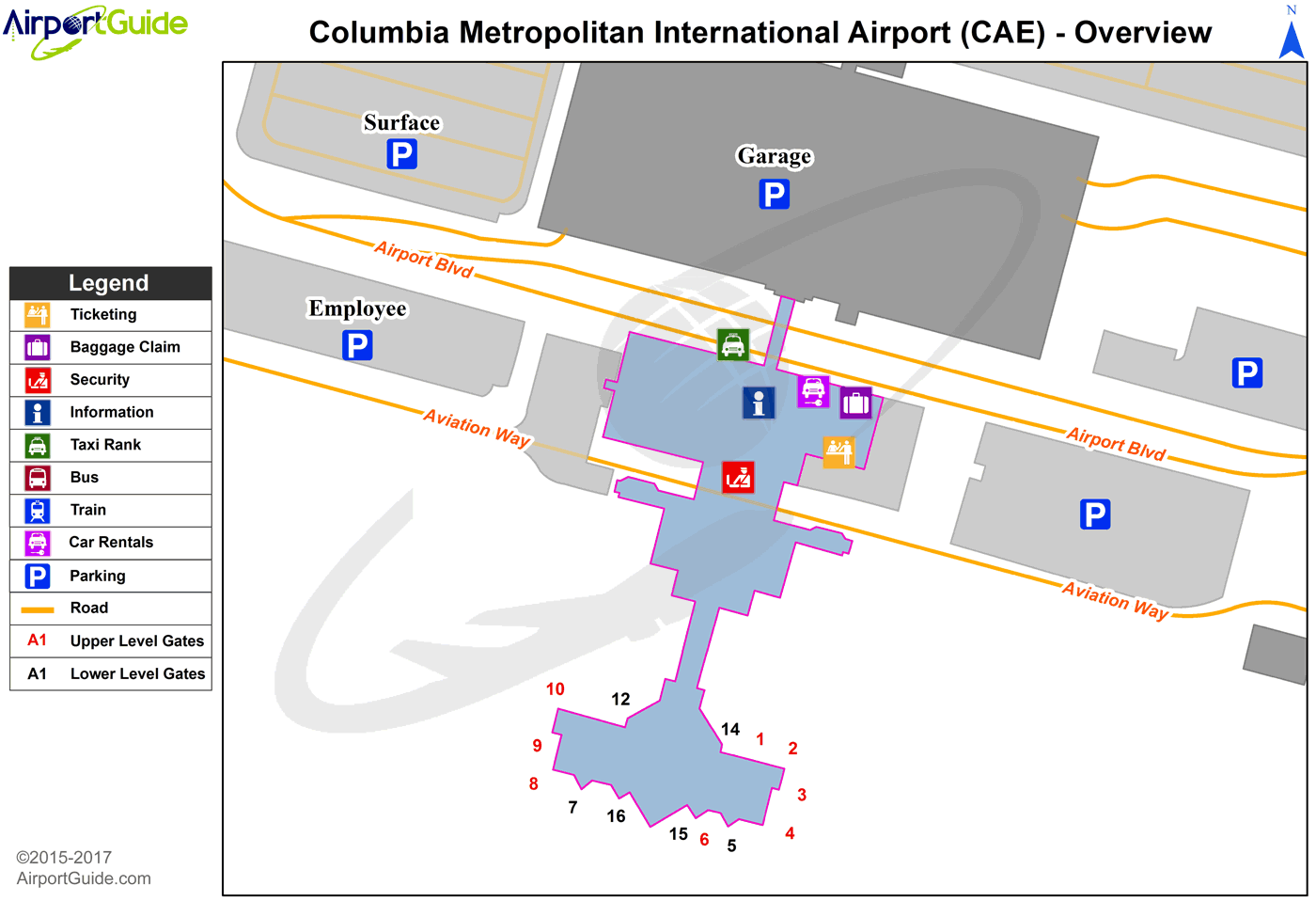 Columbia Columbia Metropolitan CAE Airport Terminal Maps