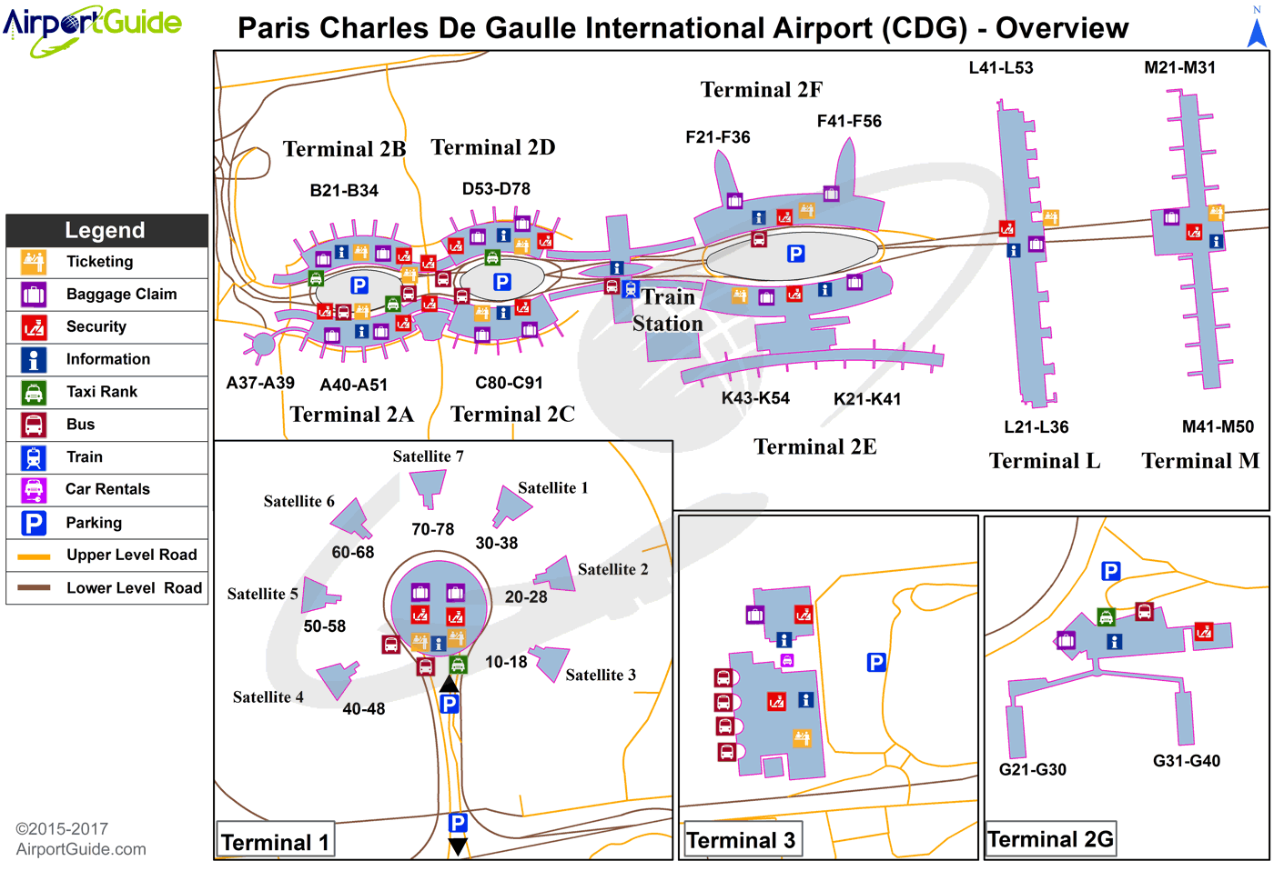 Paris - Charles de Gaulle International (CDG) Airport Terminal Maps on