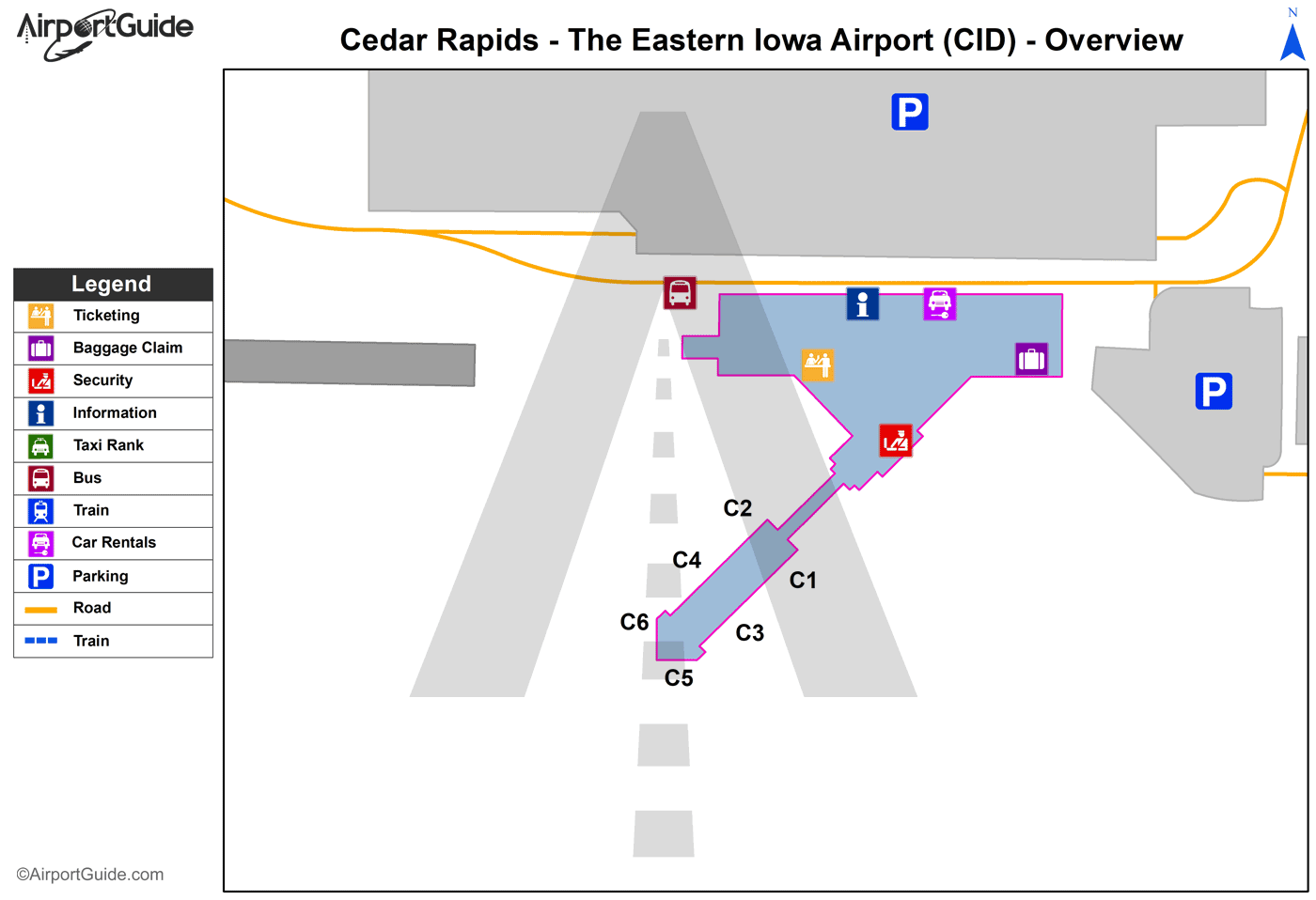 Cedar Rapids The Eastern Iowa CID Airport Terminal Maps