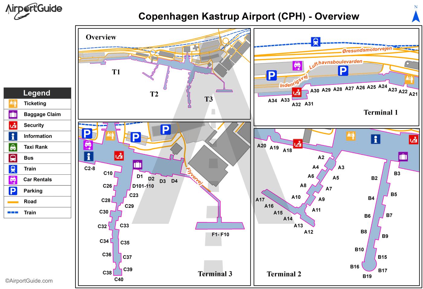 Copenhagen Airport Map Copenhagen   Copenhagen Kastrup (CPH) Airport Terminal Maps