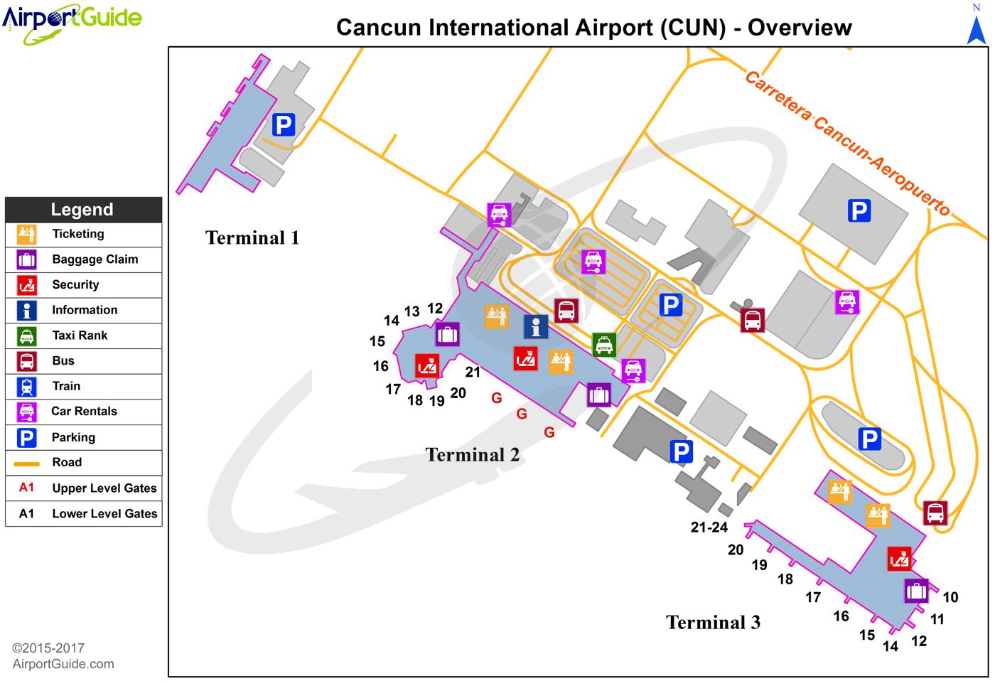 Cancún - Cancún International (CUN) Airport Terminal Maps ... on