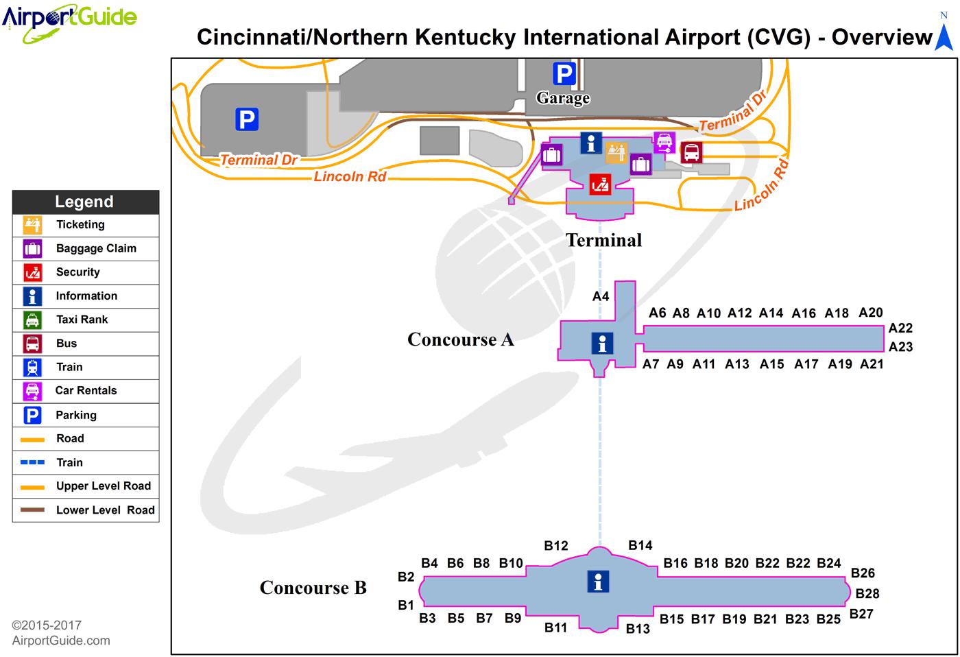 Map Cincinnati Airport Covington   Cincinnati/Northern Kentucky International (CVG  Map Cincinnati Airport