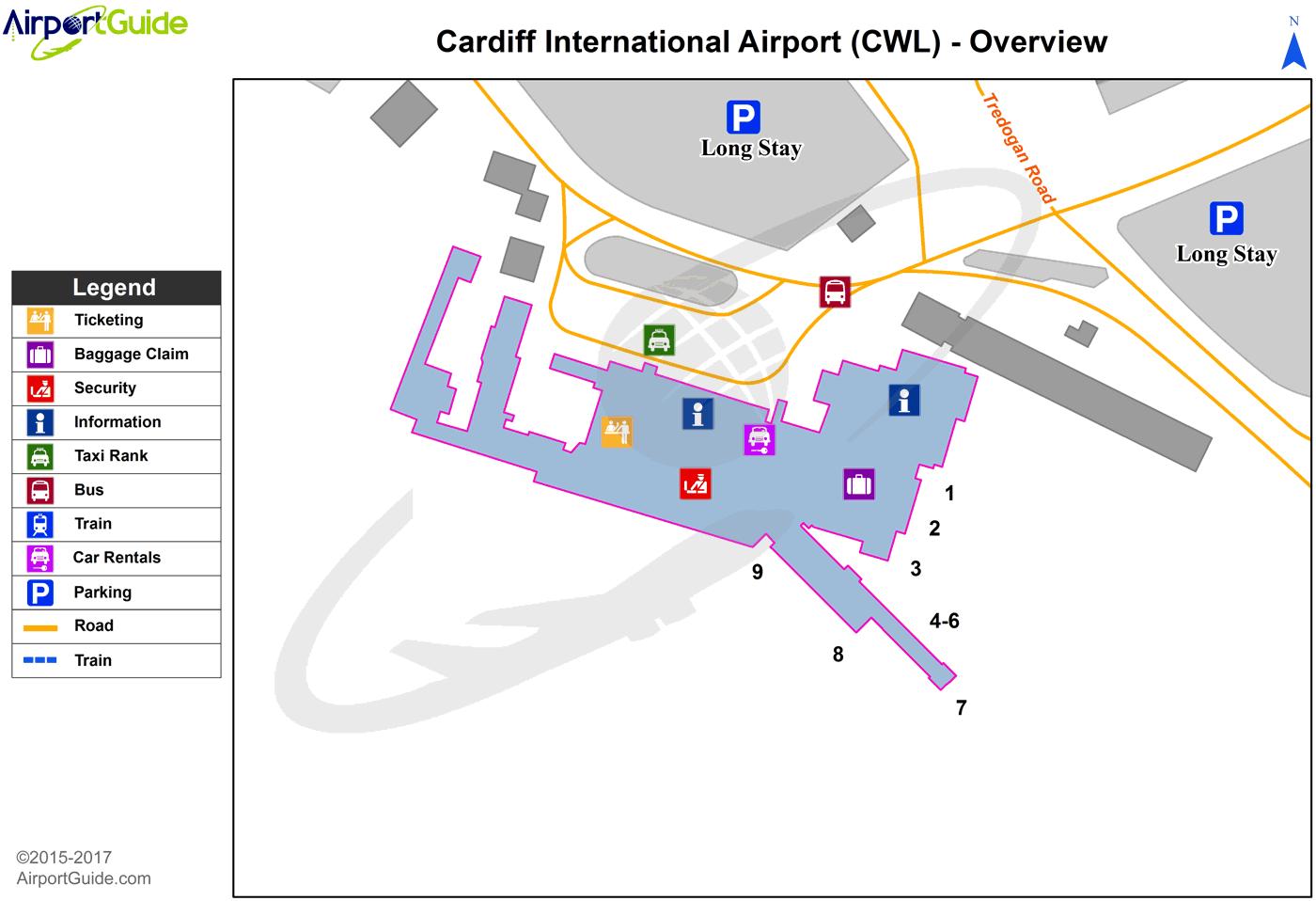Cardiff Cardiff International CWL Airport Terminal Maps