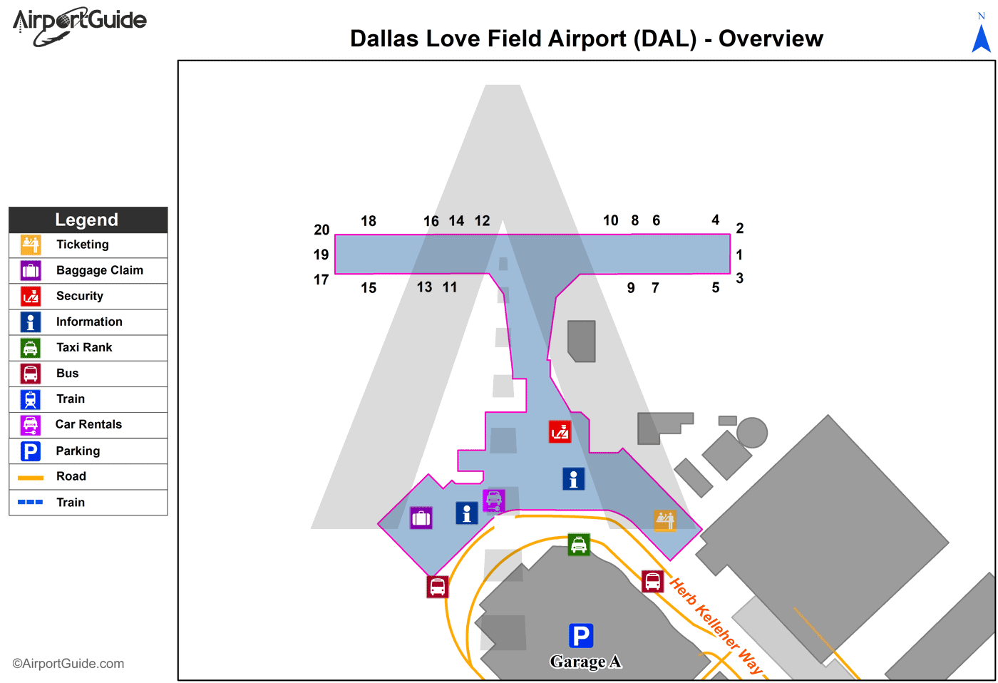 on dallas airport terminal map