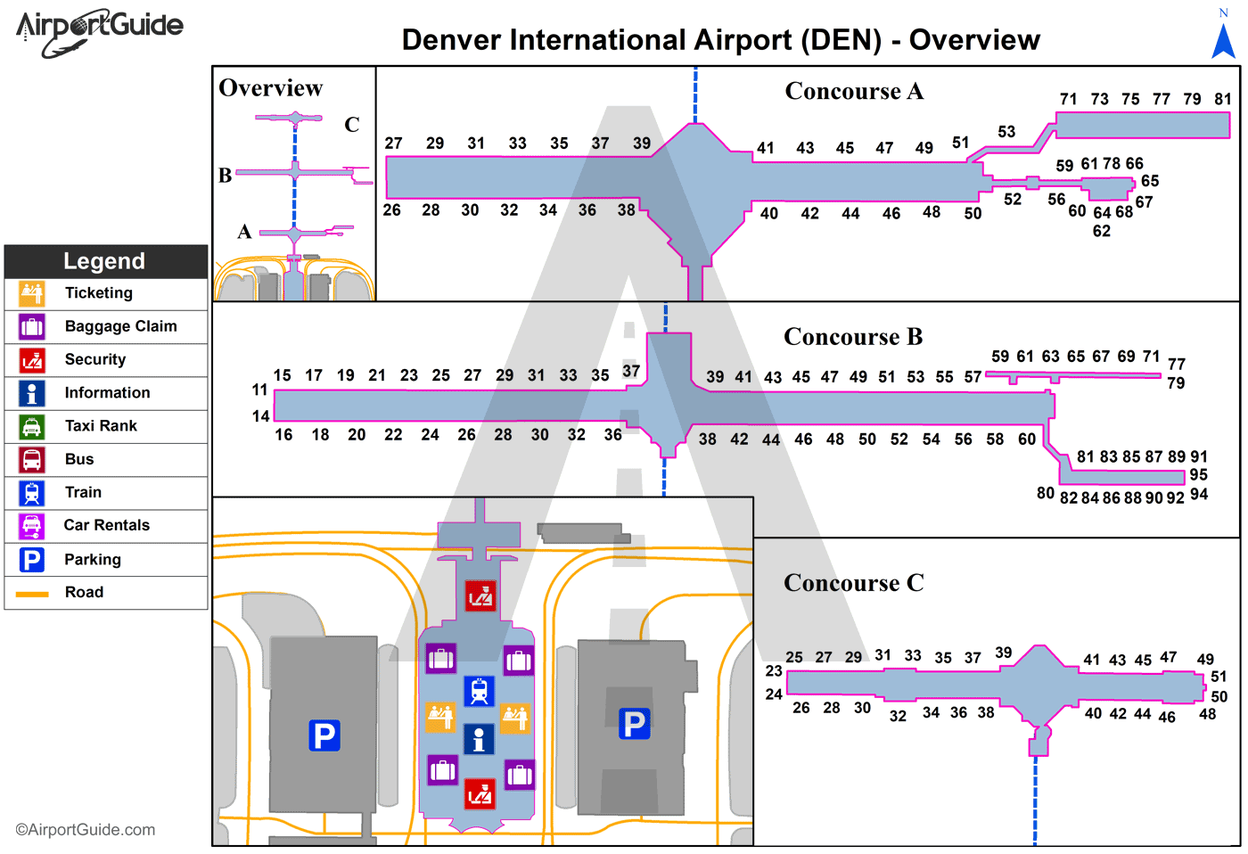 Denver  Denver International DEN Airport Terminal Maps