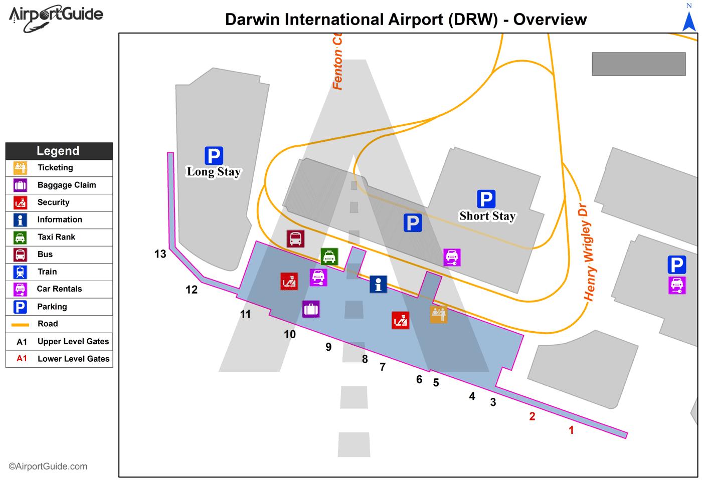 Darwin Darwin International DRW Airport Terminal Maps