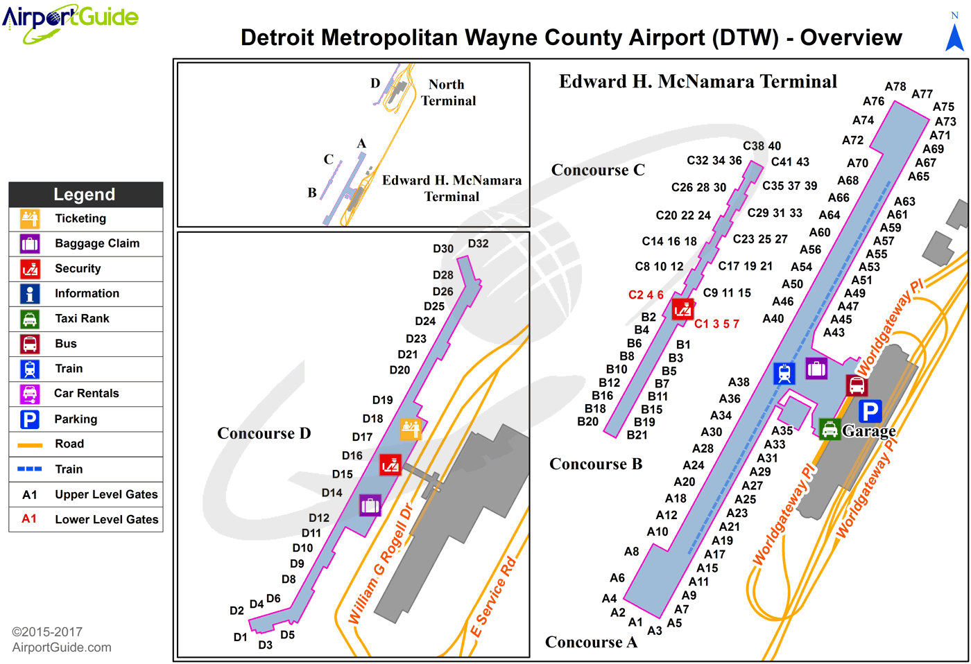 on detroit airport terminal map