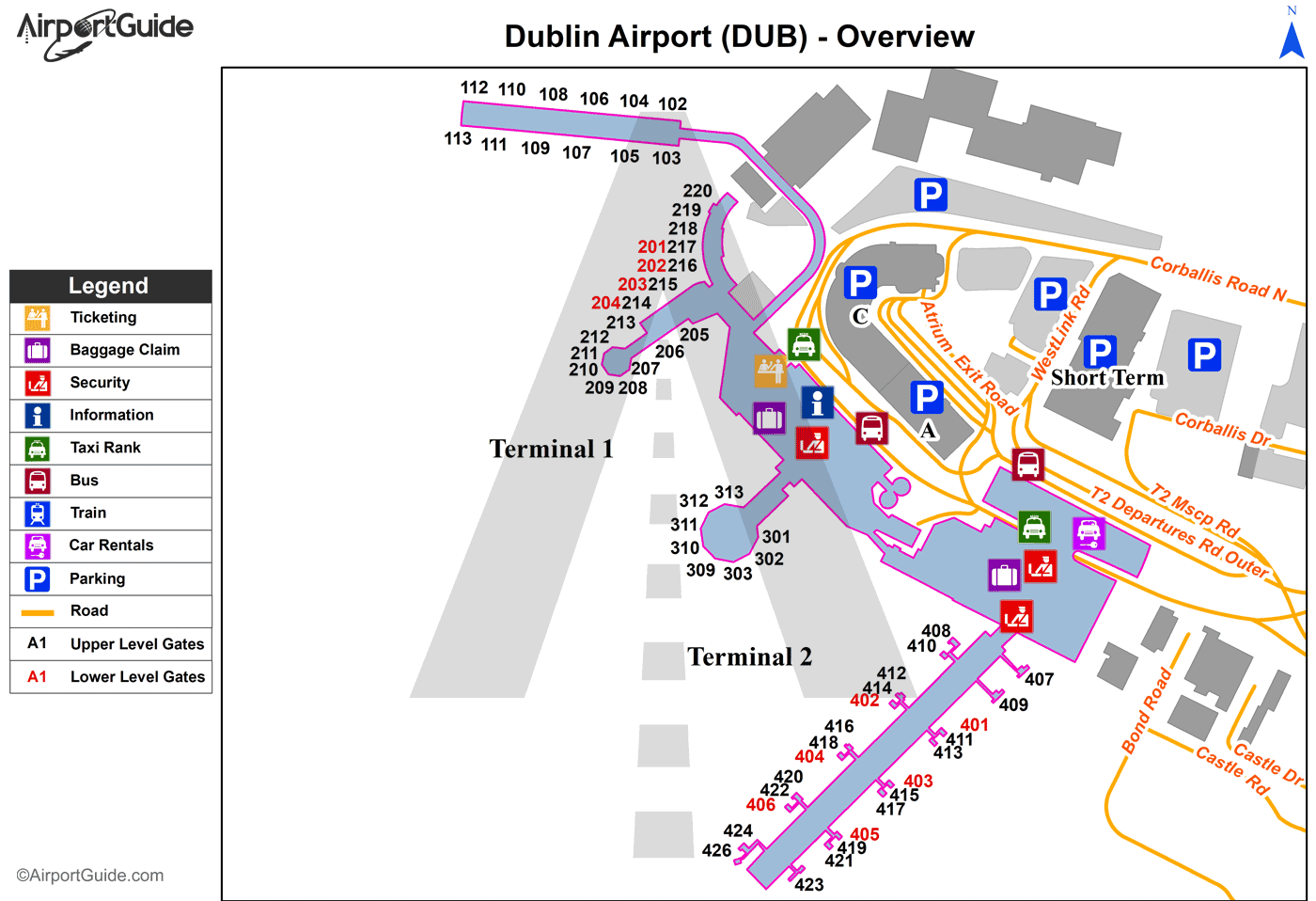 Dublin Airport Map Dublin   Dublin (DUB) Airport Terminal Maps   TravelWidget.com