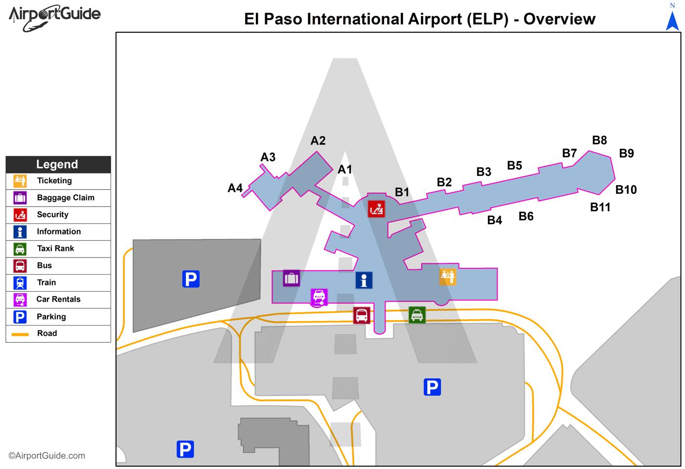 El Paso - El Paso International (ELP) Airport Terminal Maps ...