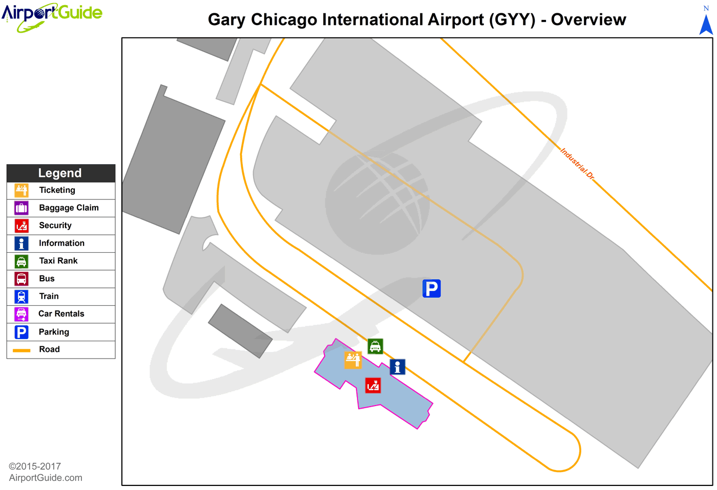 Gary - Gary/Chicago International (GYY) Airport Terminal Maps ...