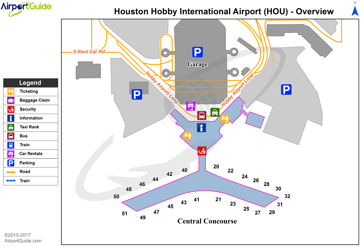 Houston William P Hobby HOU Airport Terminal Maps - Houston terminal map