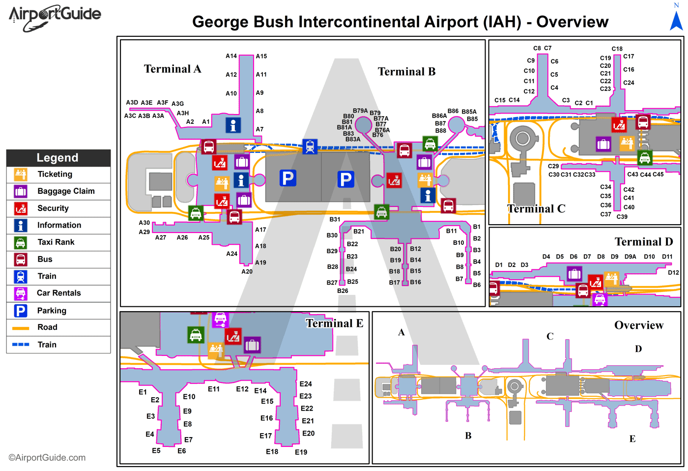 iah houston terminal map Houston George Bush Intercontinental Houston Iah Airport Terminal Maps Travelwidget Com iah houston terminal map