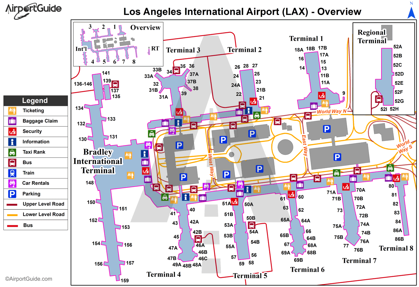 Los Angeles - Los Angeles International (LAX) Airport Terminal Maps on