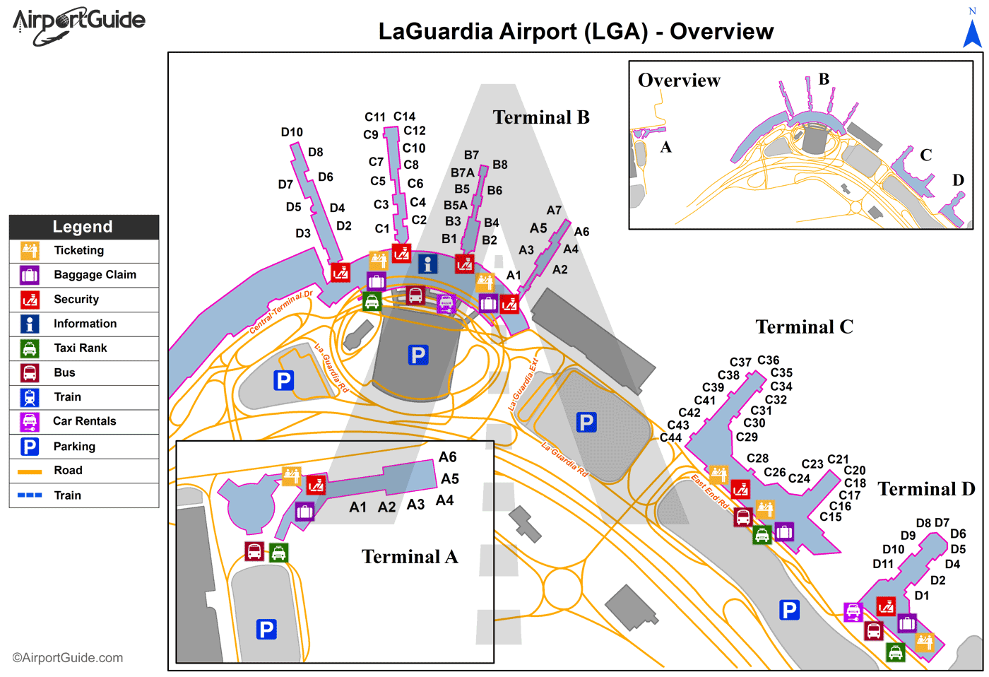 New York Laguardia Lga Airport Terminal Maps