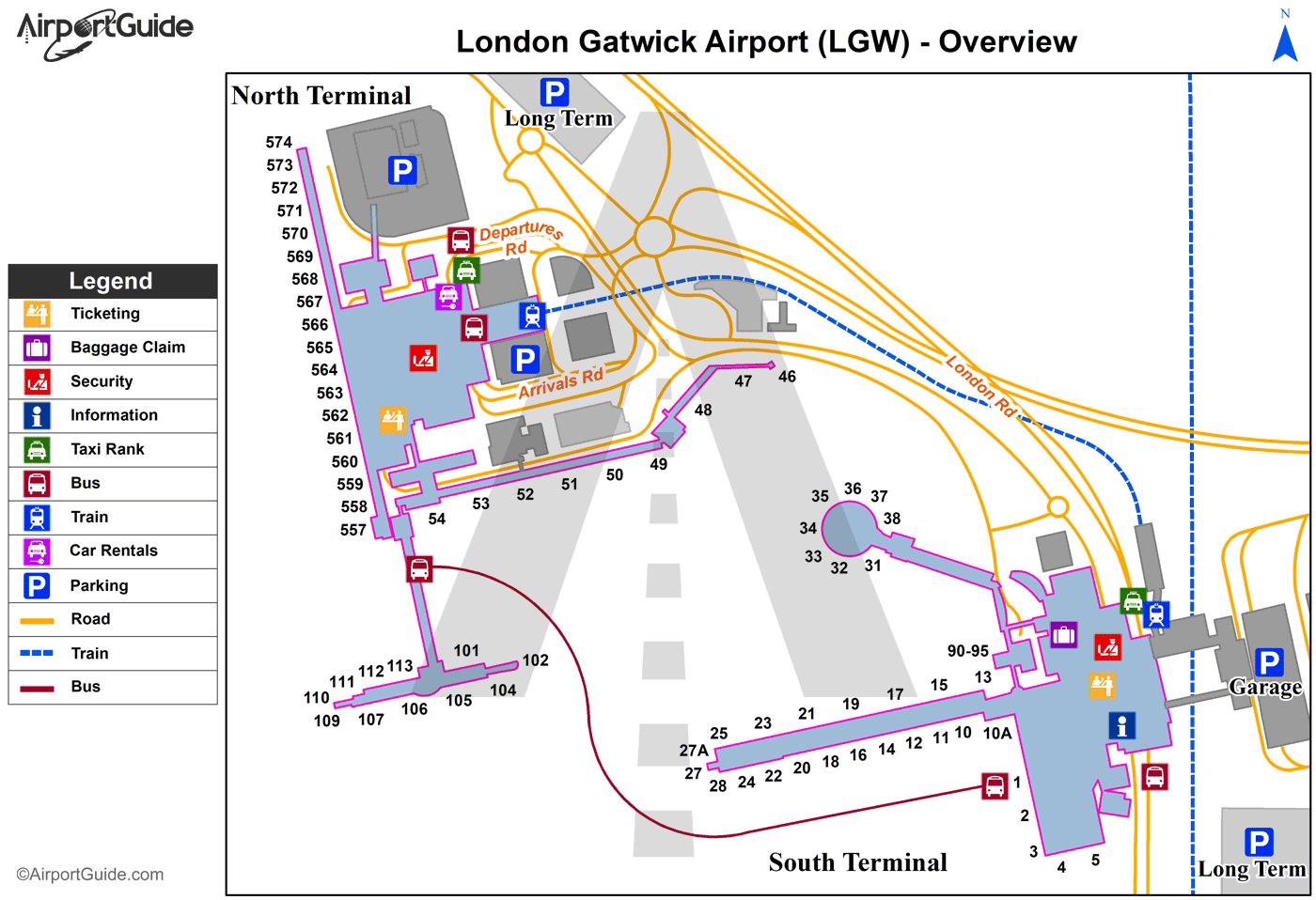 map gatwick north terminal London London Gatwick Lgw Airport Terminal Maps Travelwidget Com map gatwick north terminal