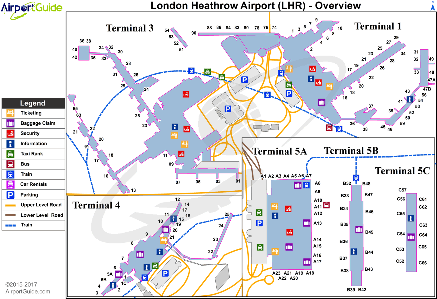 Lhr Terminal Map London   London Heathrow (LHR) Airport Terminal Maps