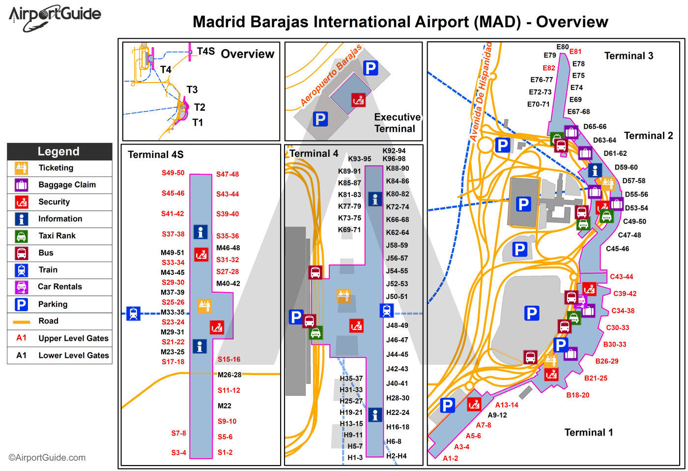 Barajas Airport Terminal Map Madrid   Madrid Barajas International (MAD) Airport Terminal Maps