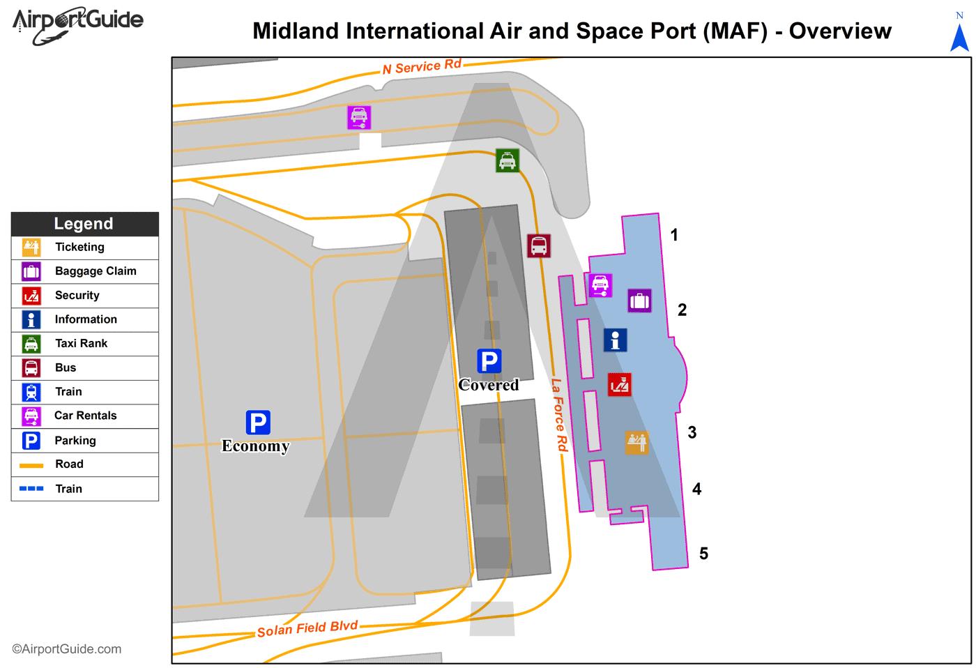 Midland Midland International MAF Airport Terminal Maps