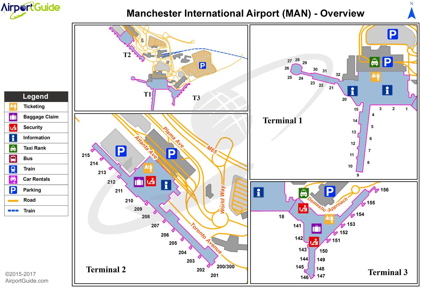 Manchester Airport Terminal Map Manchester   Manchester (MAN) Airport Terminal Maps   TravelWidget.com