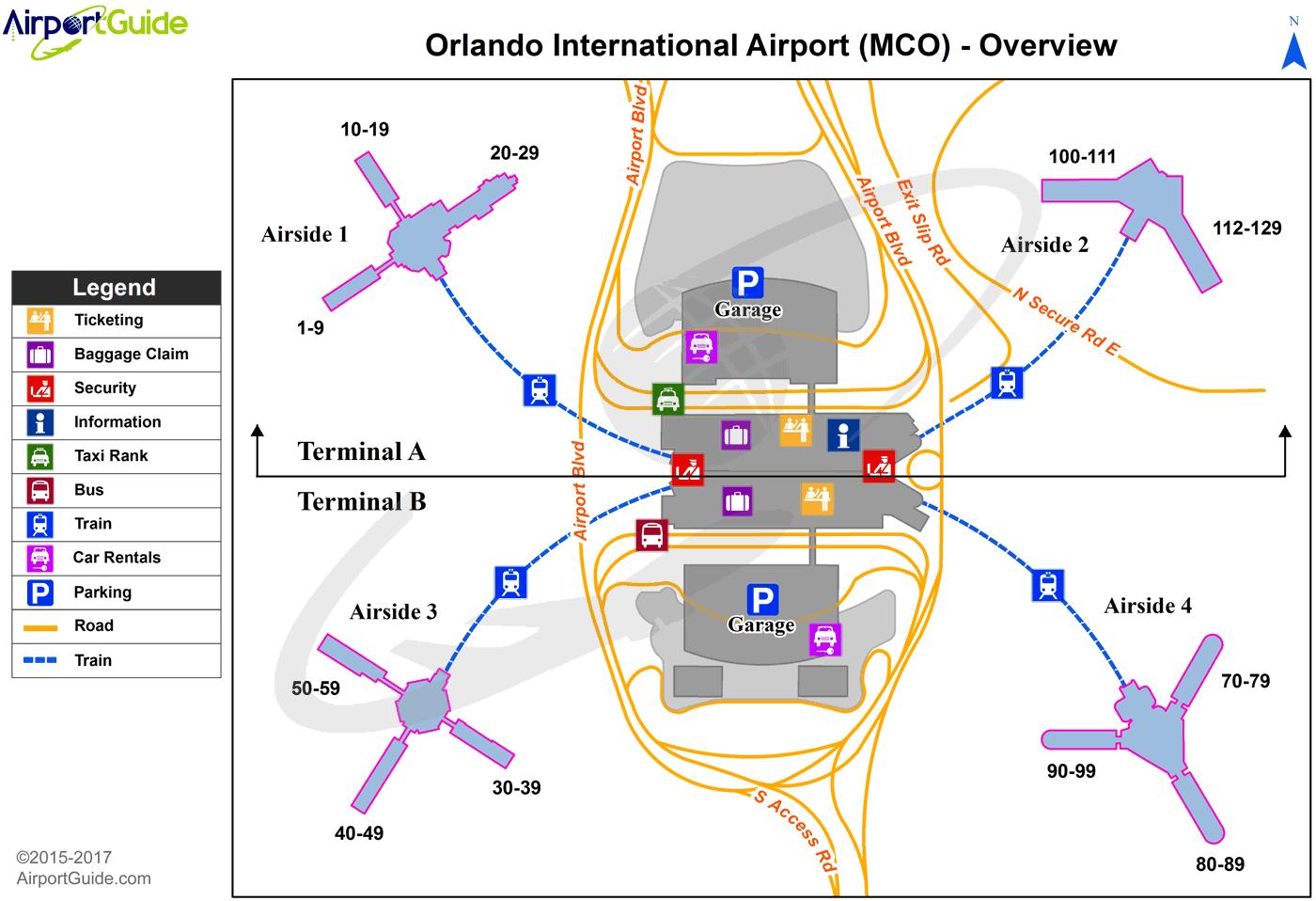 Orlando Airports Map Orlando   Orlando International (MCO) Airport Terminal Maps