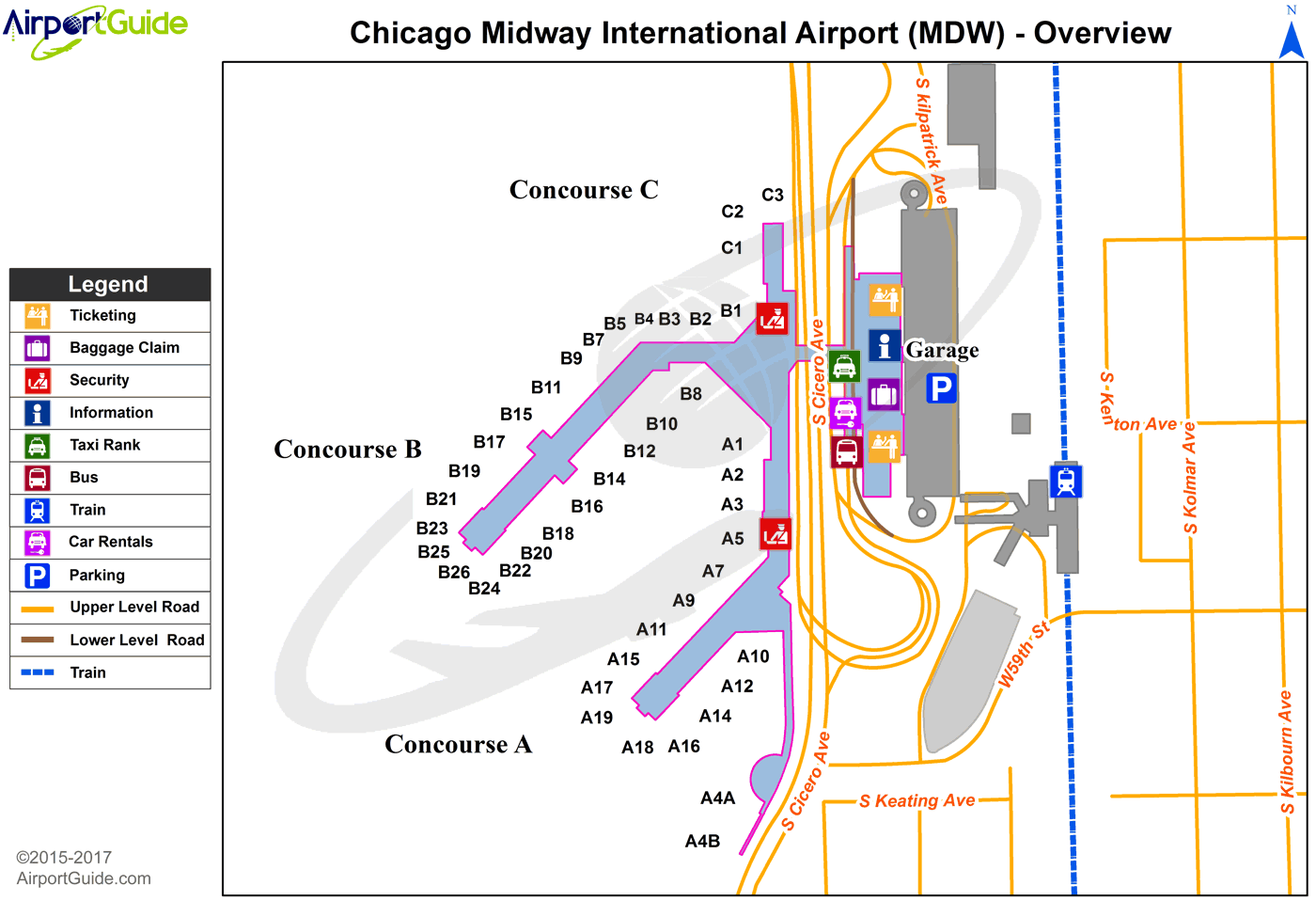 Chicago Terminal Map Chicago   Chicago Midway International (MDW) Airport Terminal Maps