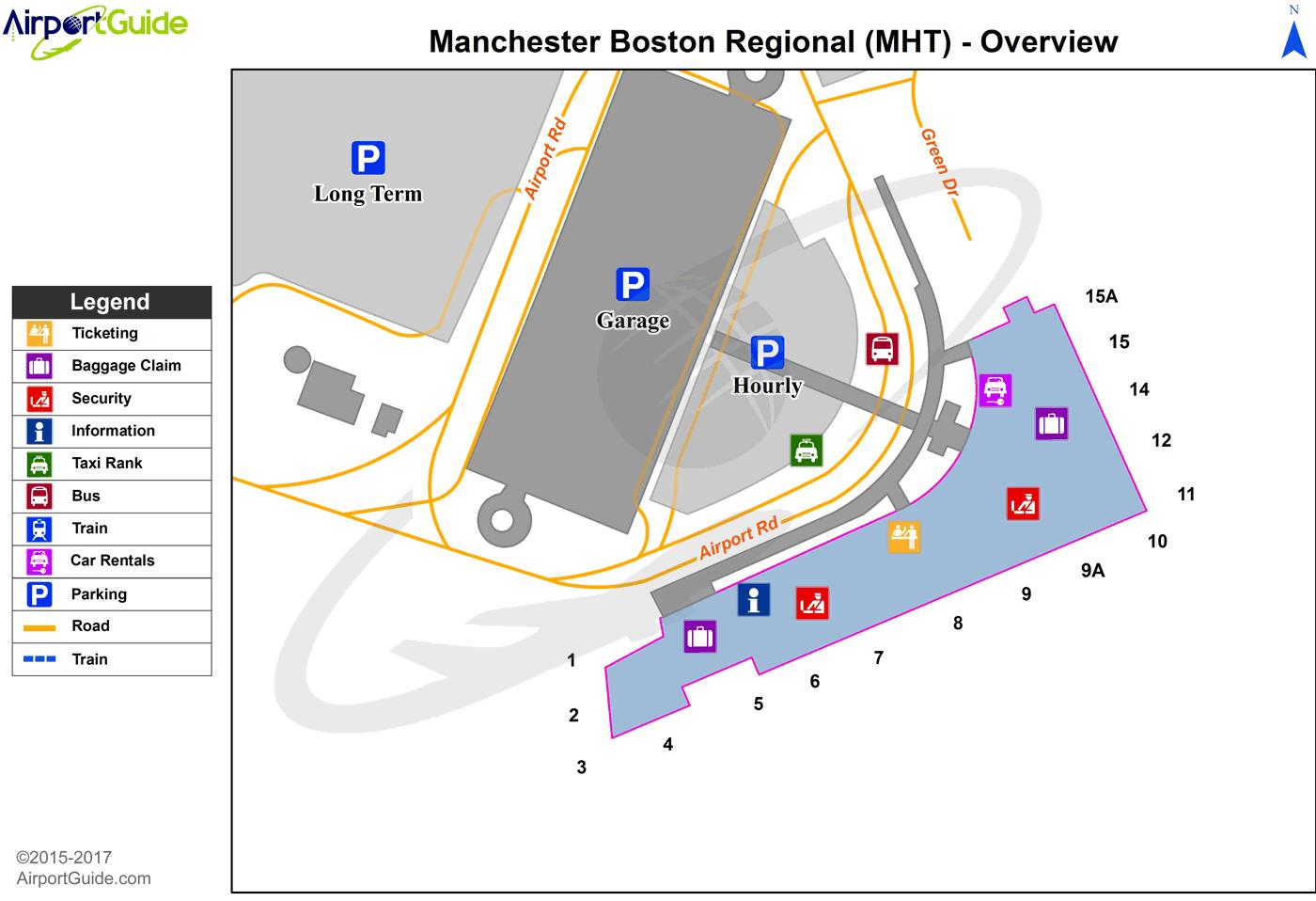 Manchester - Manchester (MHT) Airport Terminal Maps - TravelWidget.com