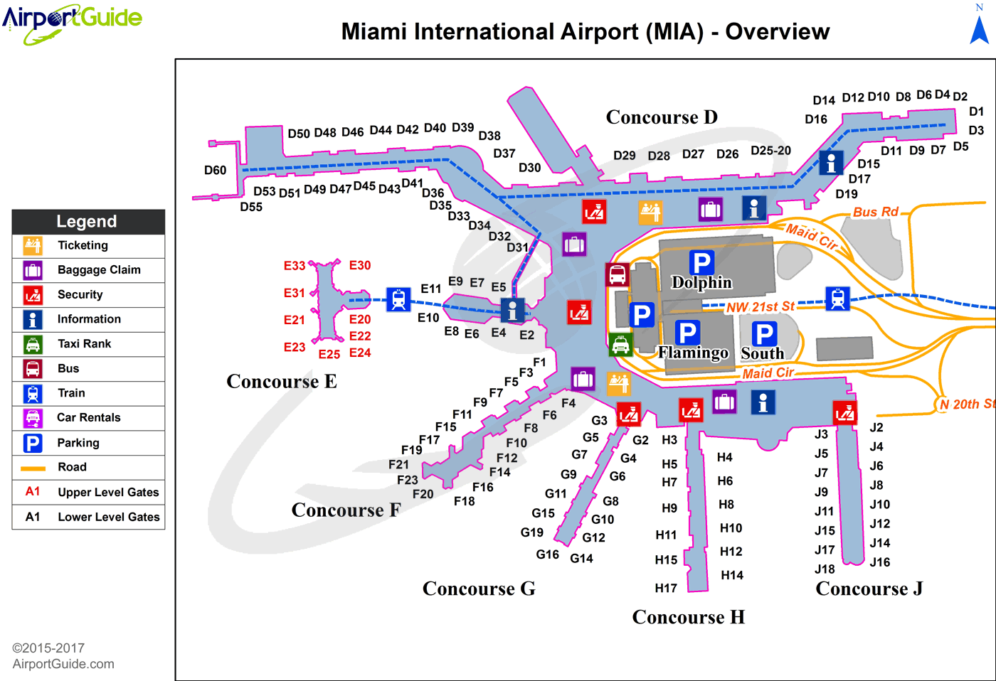 Miami Terminal Map Miami   Miami International (MIA) Airport Terminal Maps  Miami Terminal Map