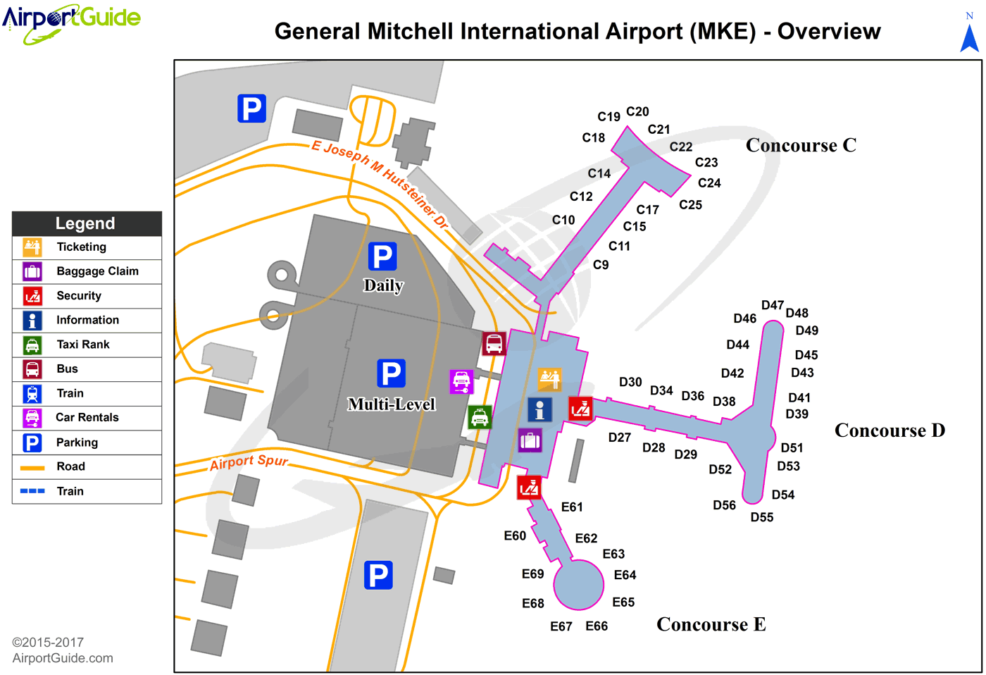 Milwaukee Airport Map Milwaukee   General Mitchell International (MKE) Airport Terminal  Milwaukee Airport Map