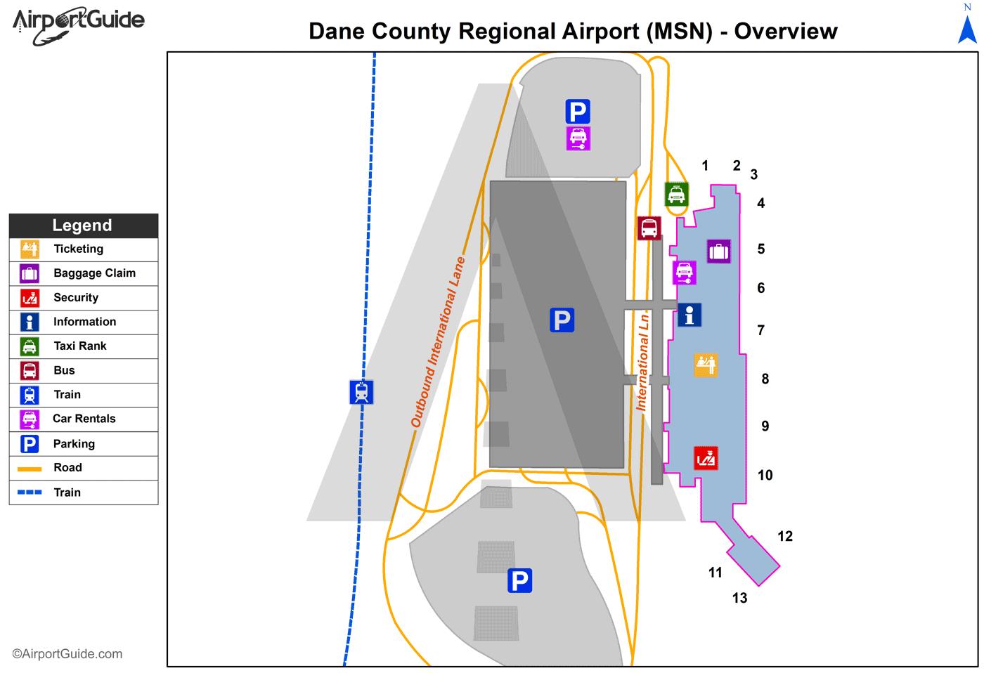 Dane County Regional-Truax Field (MSN) Airport Terminal Maps