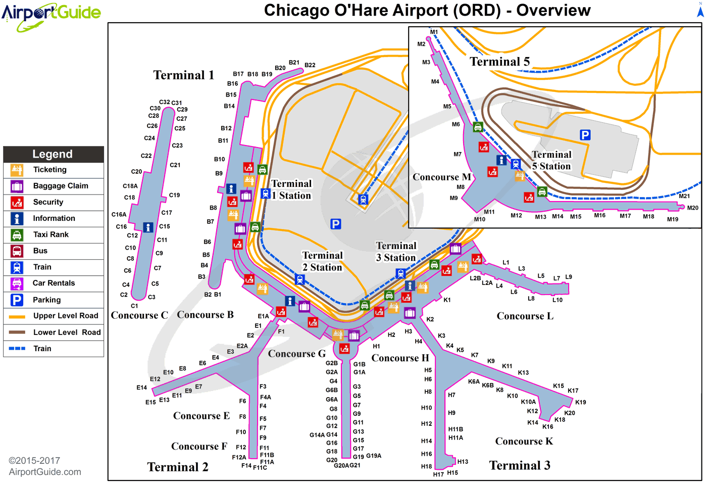 Chicago Chicago Ohare International ORD Airport Terminal Maps