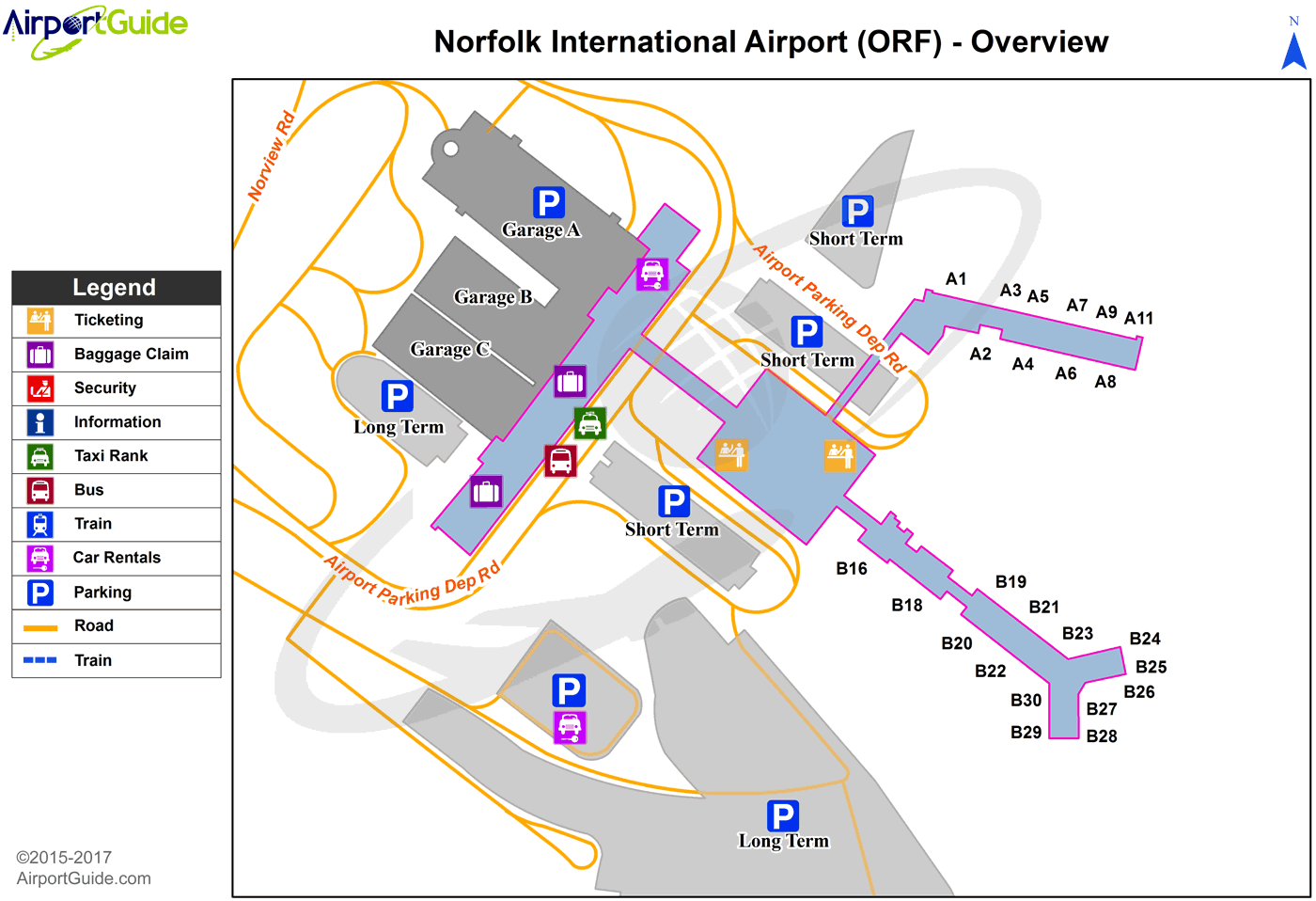 Norfolk Norfolk International ORF Airport Terminal Maps