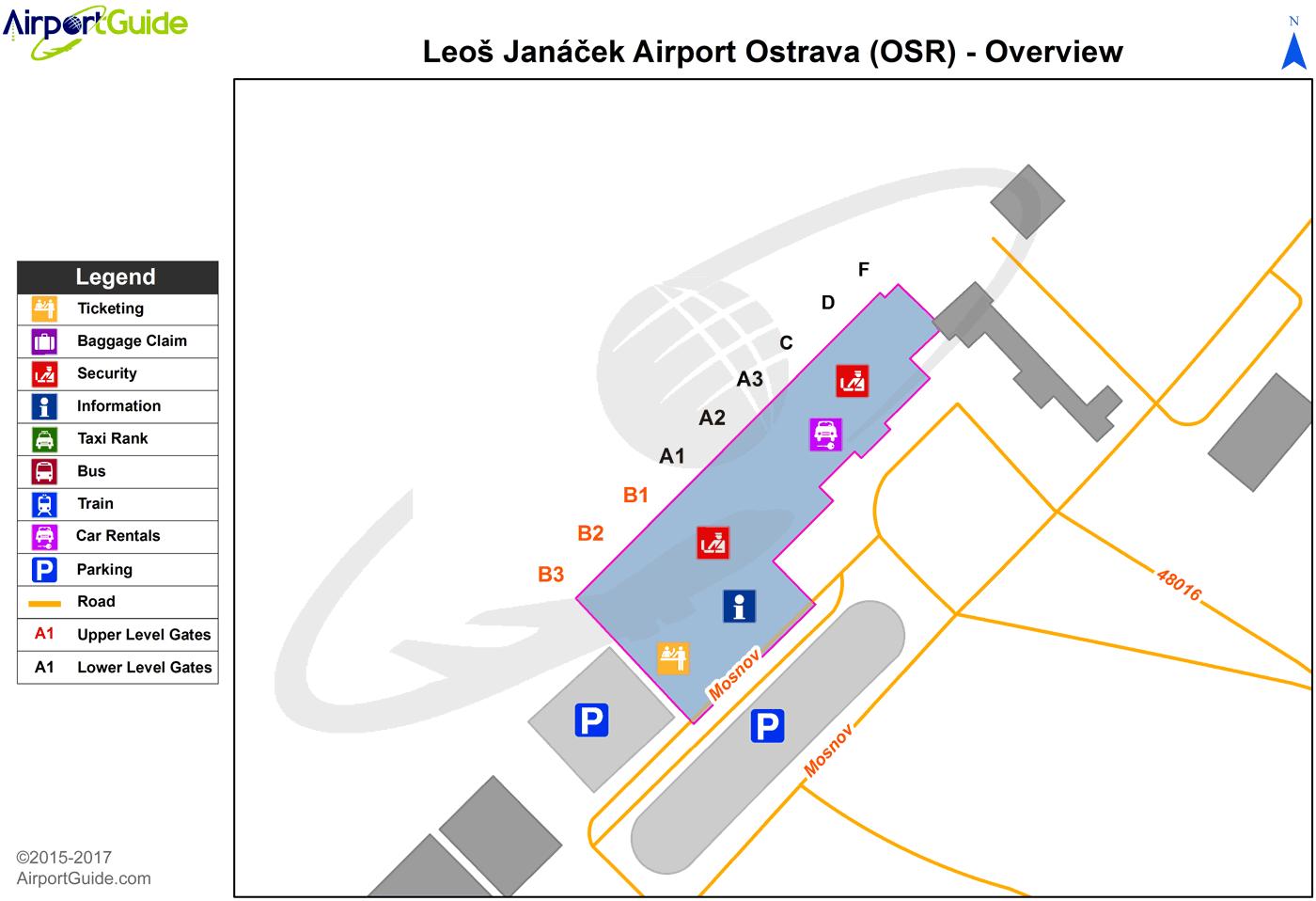 Ostrava Ostrava Leos Janek OSR Airport Terminal Maps