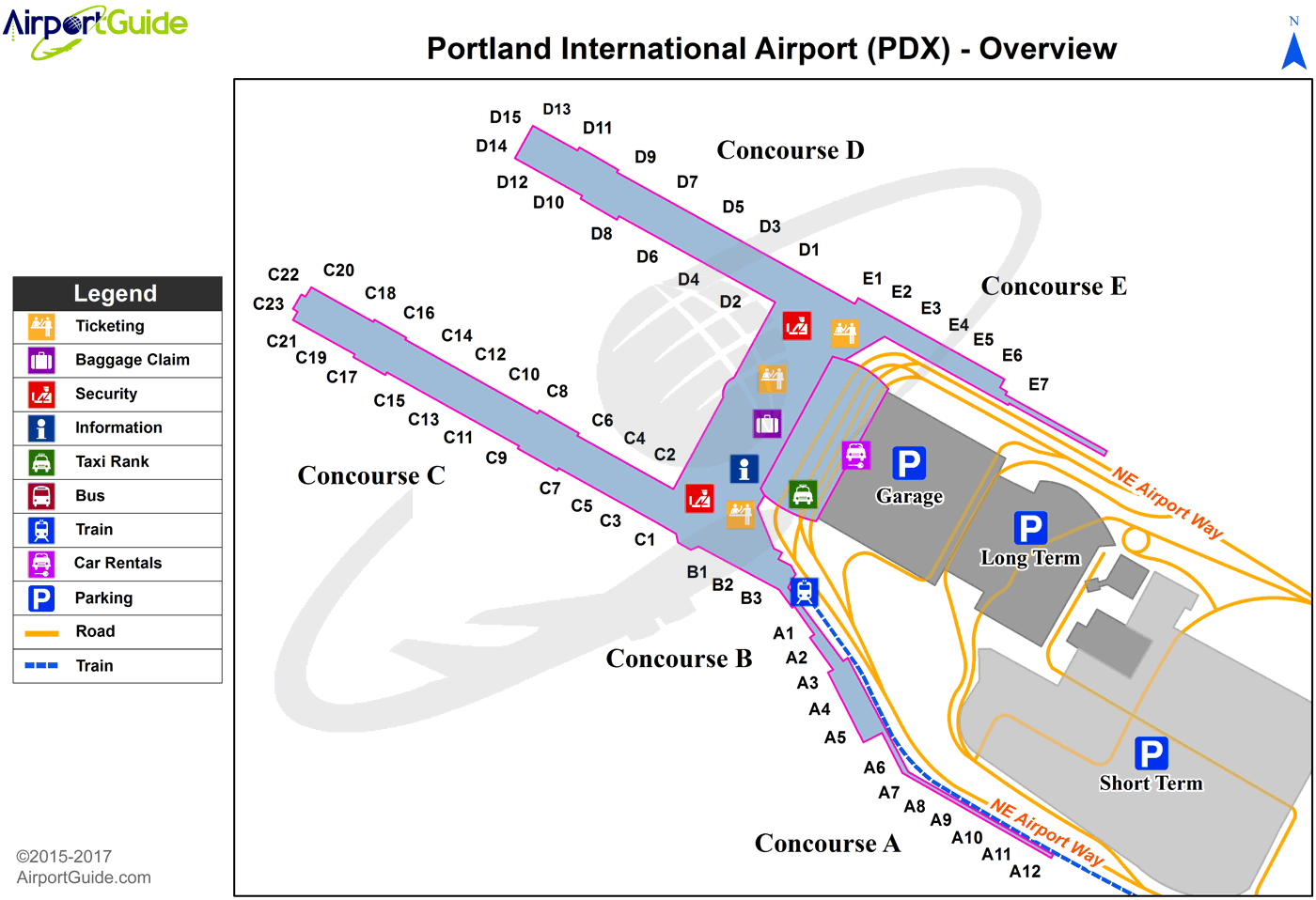 Portland   Portland International (PDX) Airport Terminal Maps